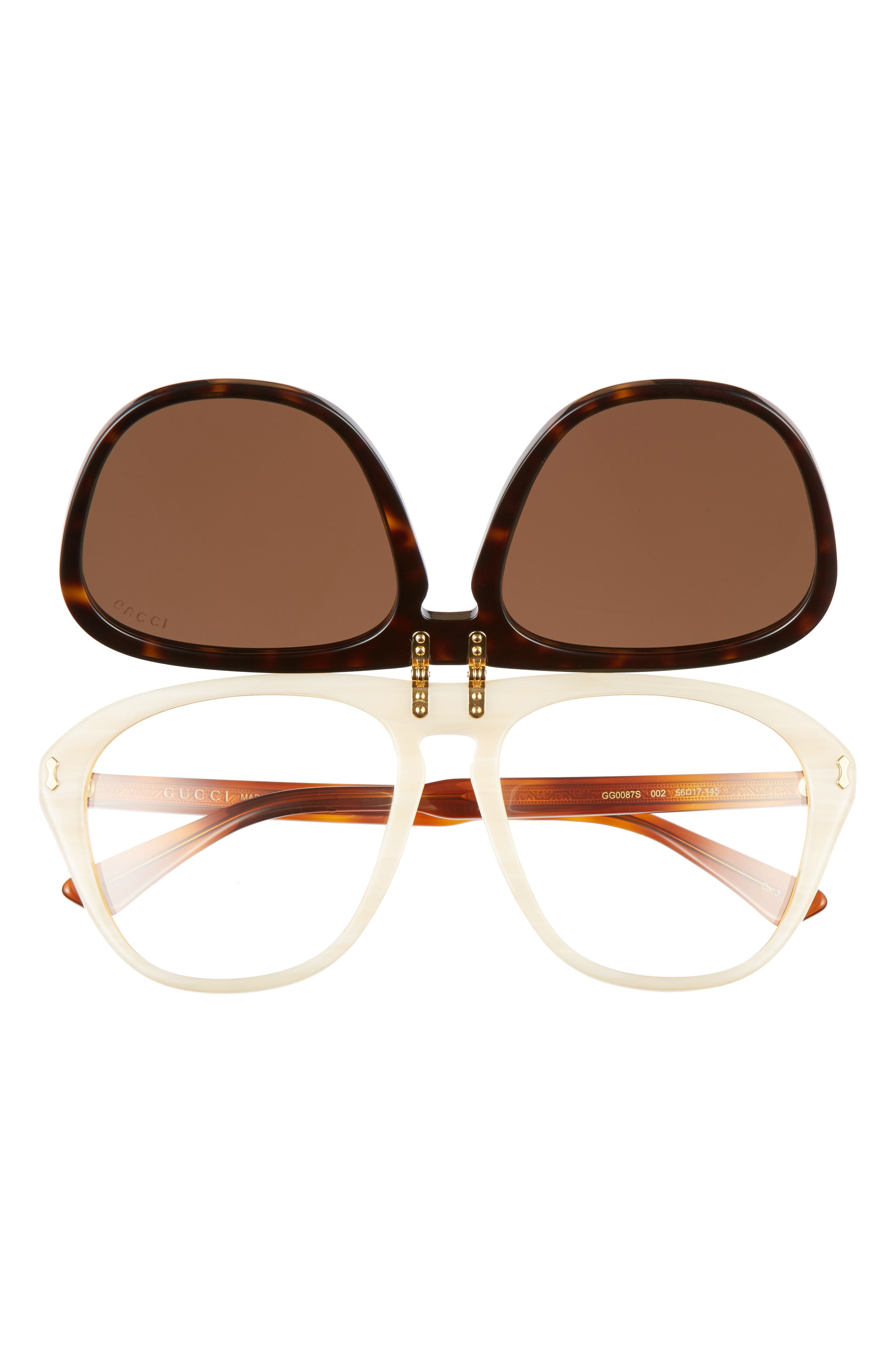 56mm Flip-Up Sunglasses,                             Alternate thumbnail 3, color,                             HAVANA/ BROWN