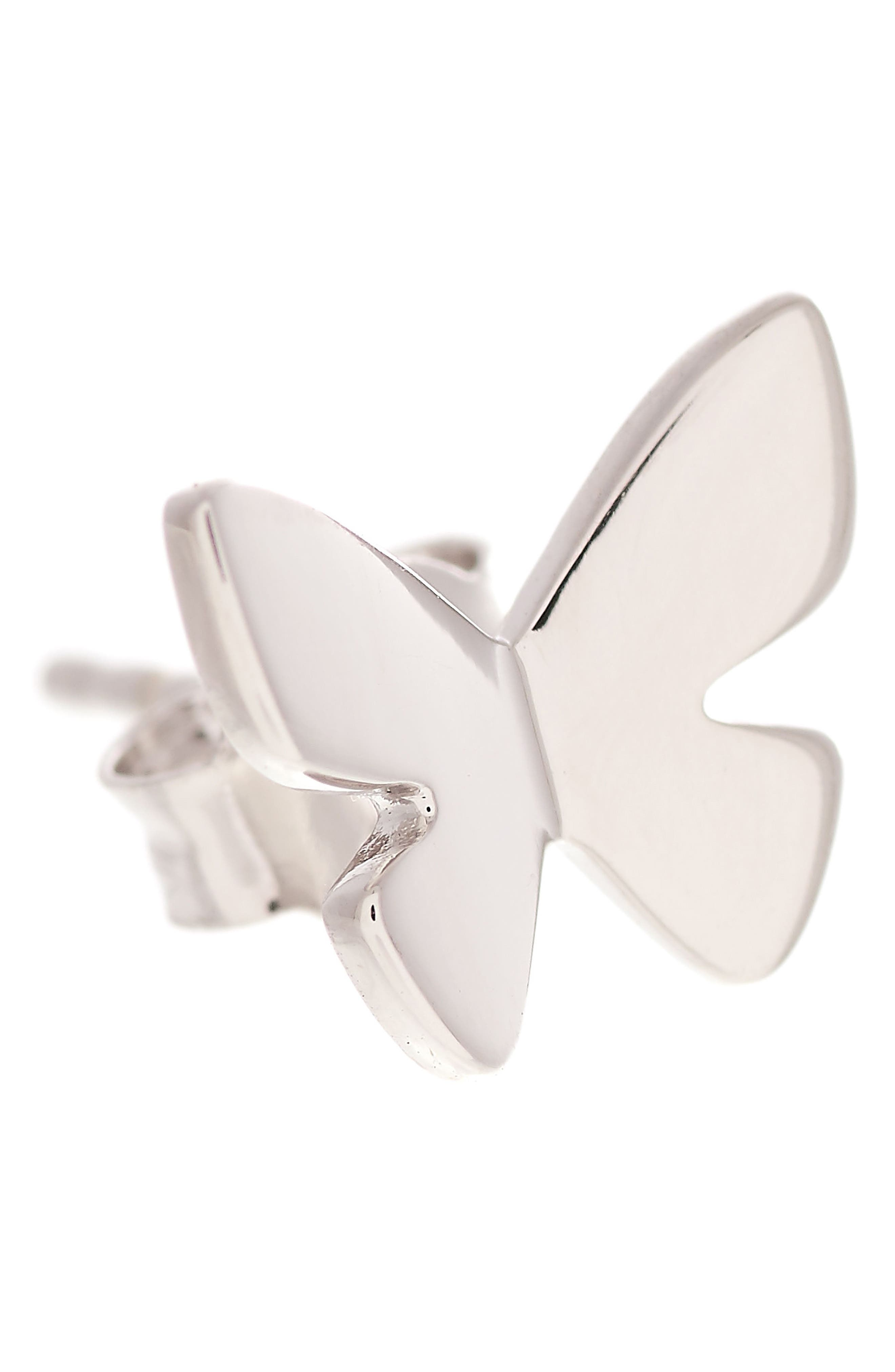 Social Butterfly Stud Earrings,                             Alternate thumbnail 2, color,                             SILVER
