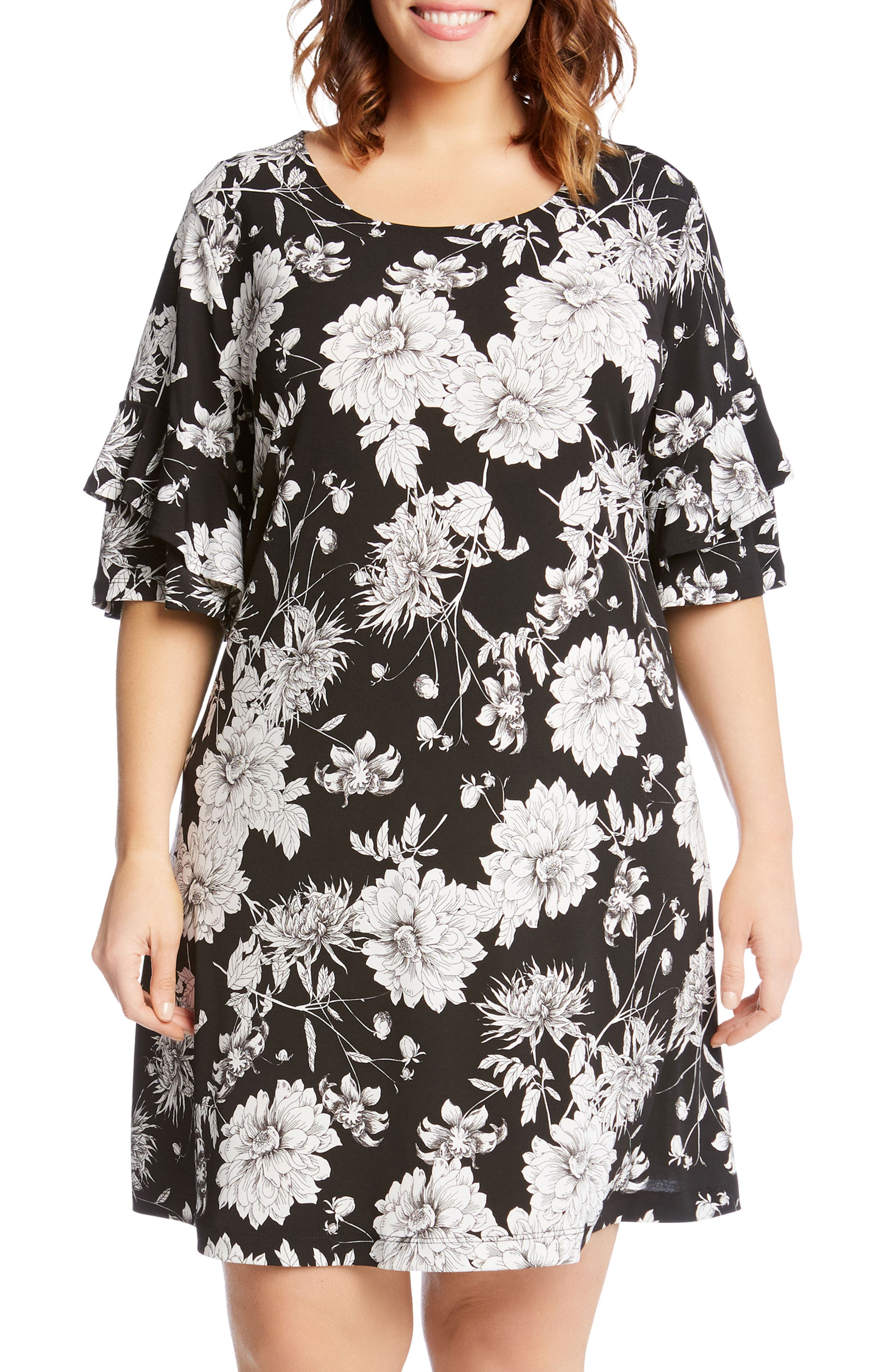 Floral Ruffle Sleeve Shift Dress,                             Alternate thumbnail 3, color,                             400