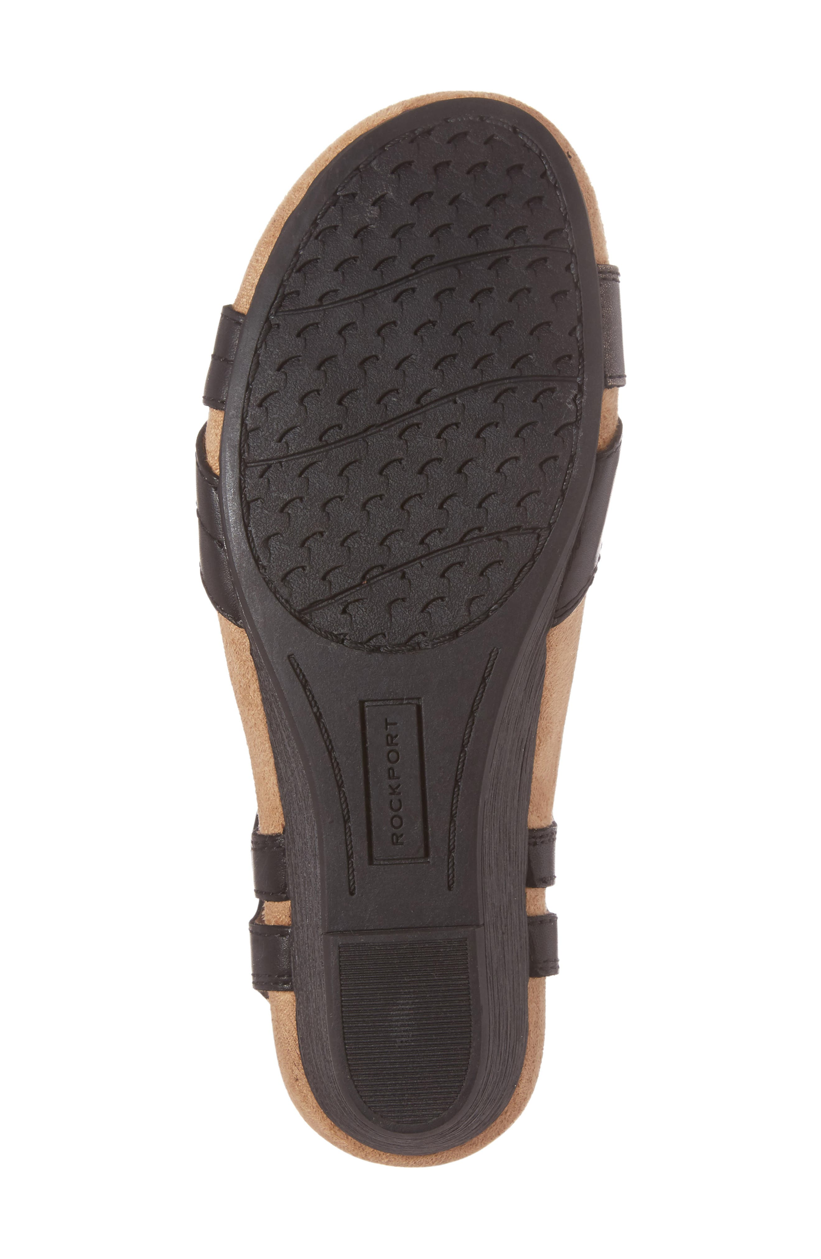 Hollywood Wedge Sandal,                             Alternate thumbnail 6, color,                             BLACK LEATHER