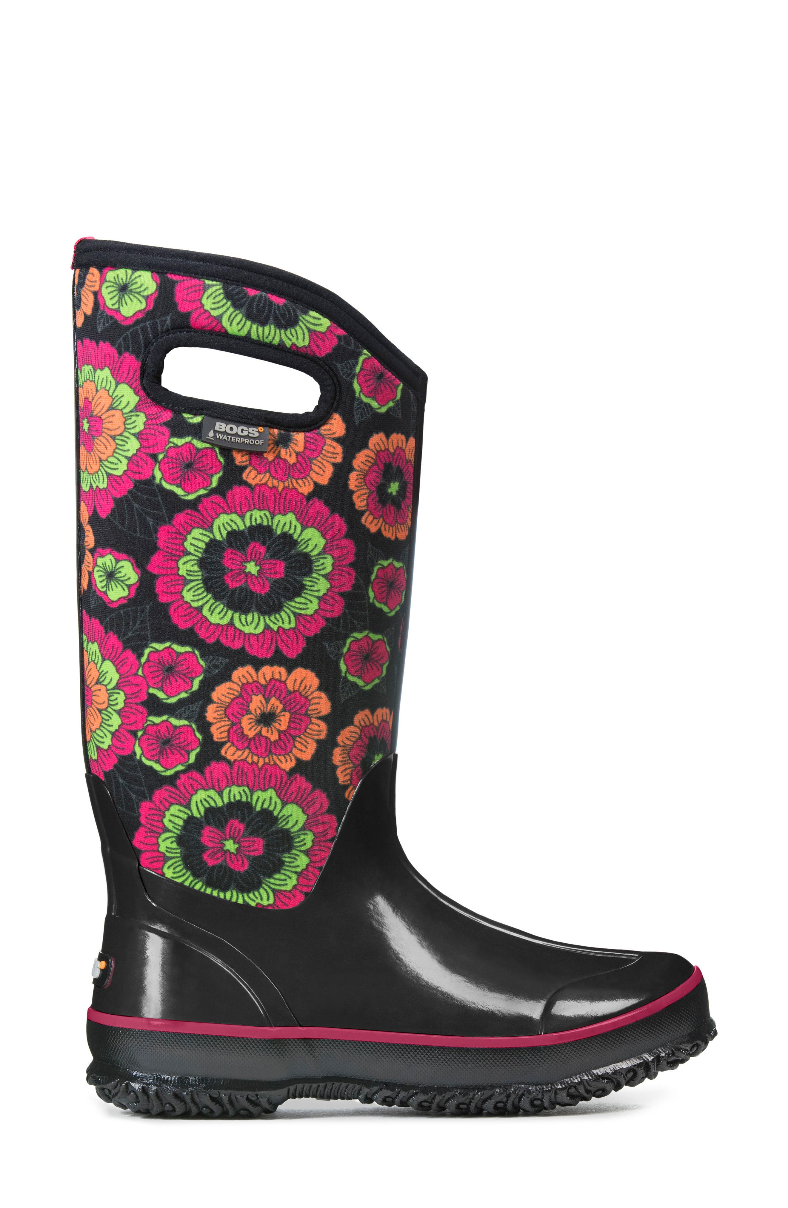 Classic Pansies Waterproof Insulated Boot,                             Alternate thumbnail 3, color,                             010