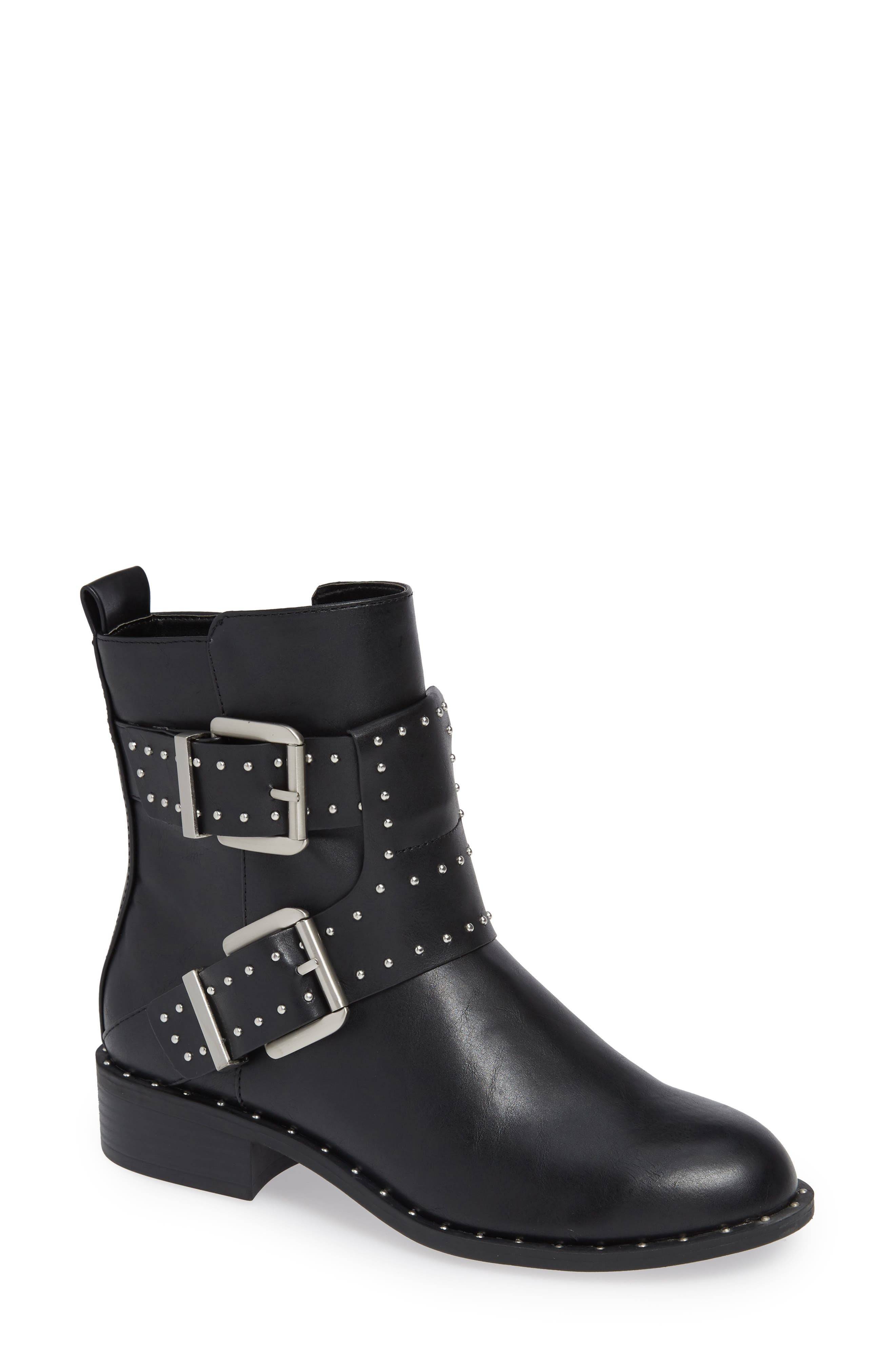Tupper Moto Boot,                         Main,                         color, BLACK SYNTHETIC