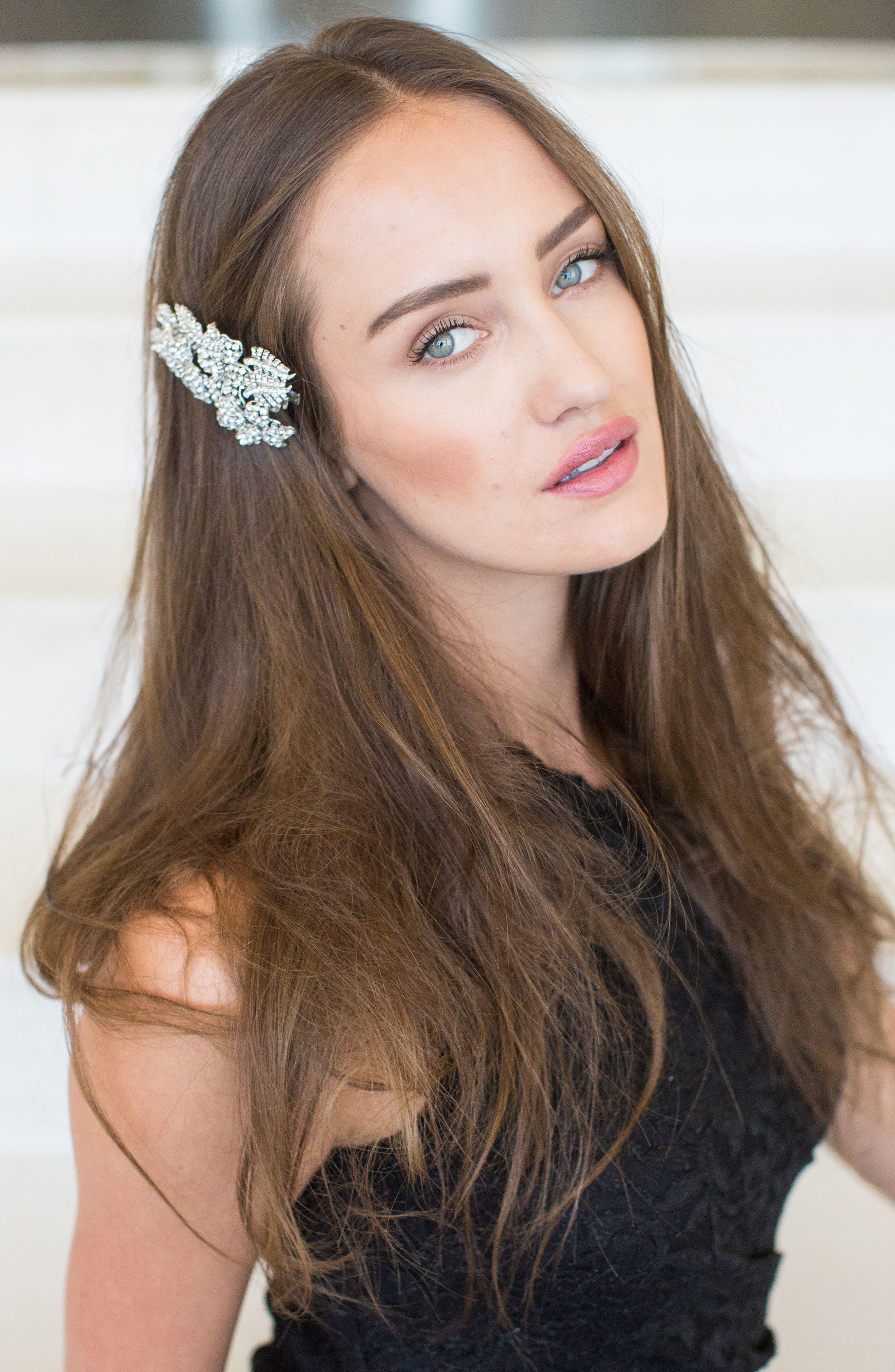 'Esther' Crystal Embellished Hair Clip,                             Alternate thumbnail 7, color,