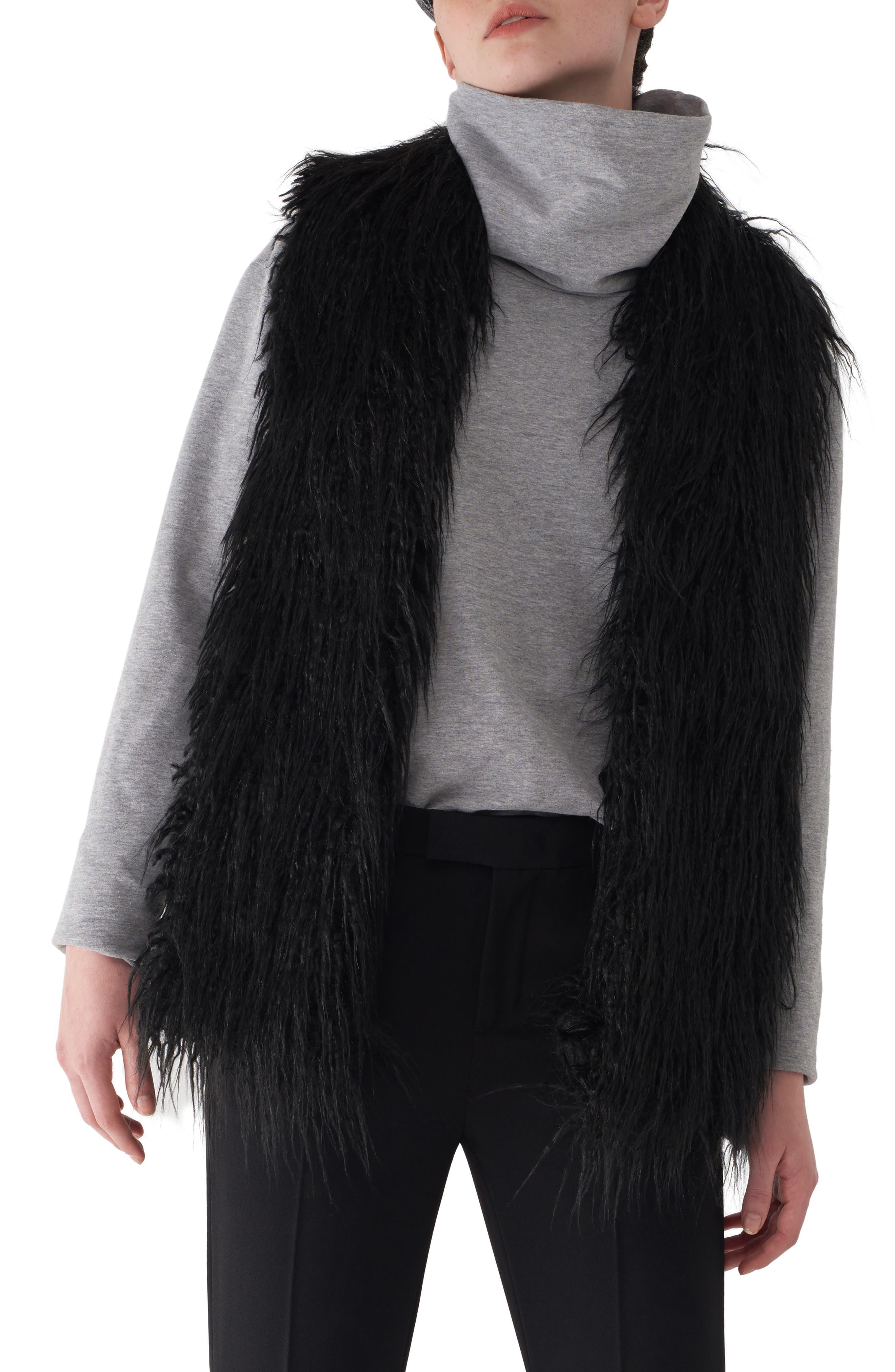 Gila Down & Faux Fur Vest,                         Main,                         color, BLACK