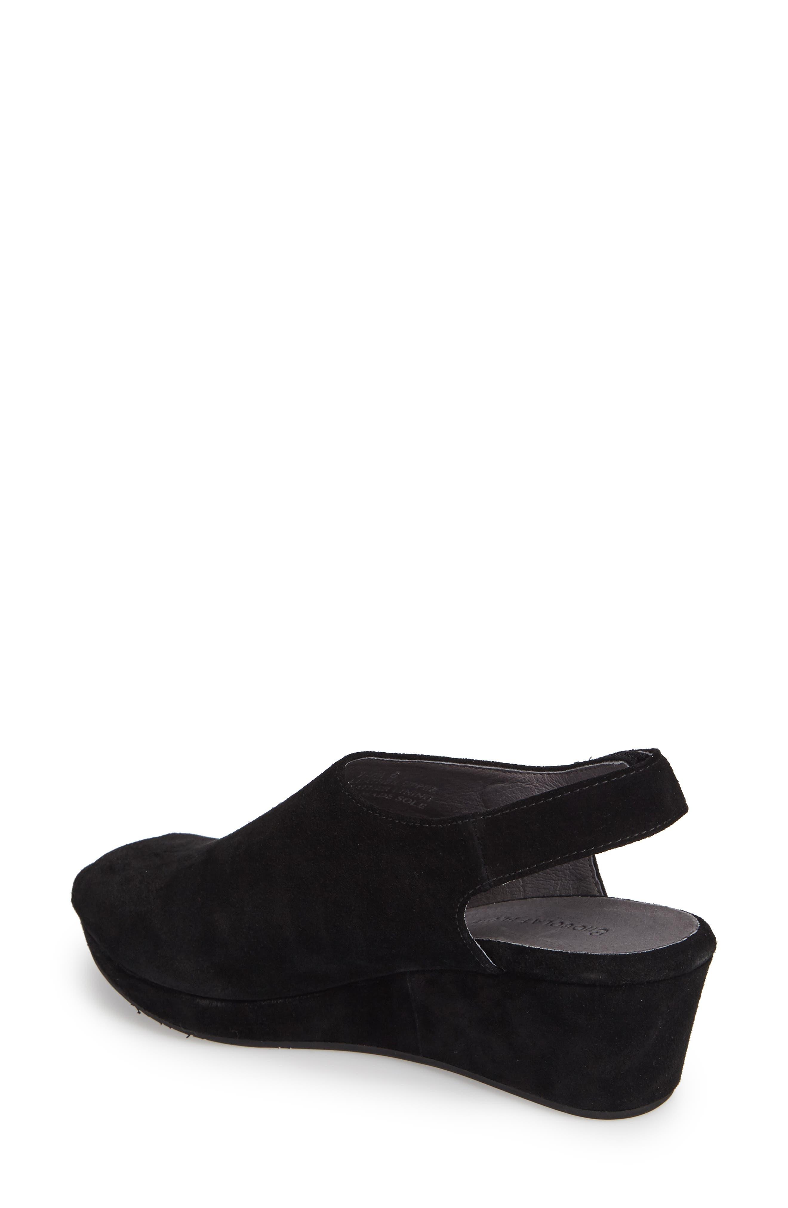 Yana Wedge Sandal,                             Alternate thumbnail 2, color,                             BLACK SUEDE