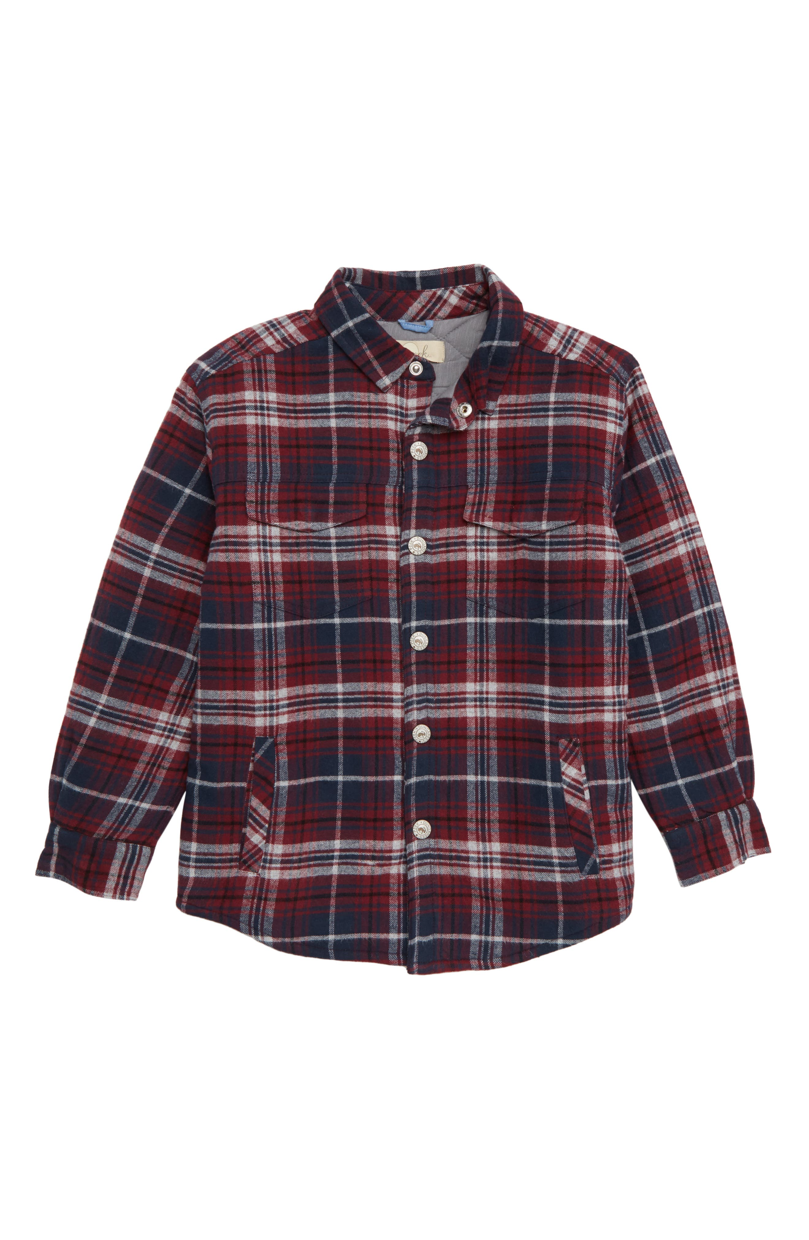 Aiden Quilted Flannel Shirt,                         Main,                         color, BURGUNDY