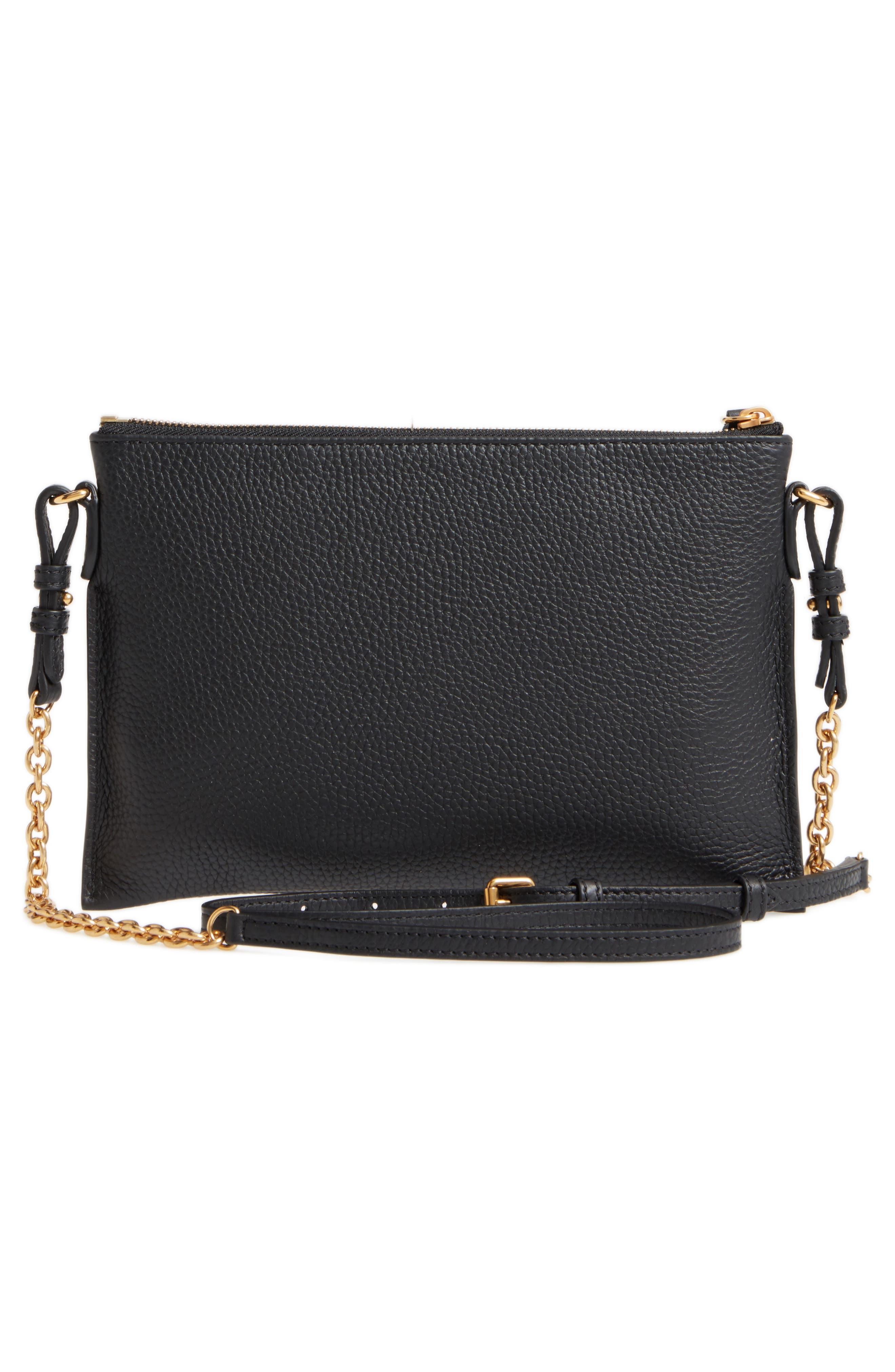 Peyton Leather Crossbody Bag,                             Alternate thumbnail 3, color,                             BLACK