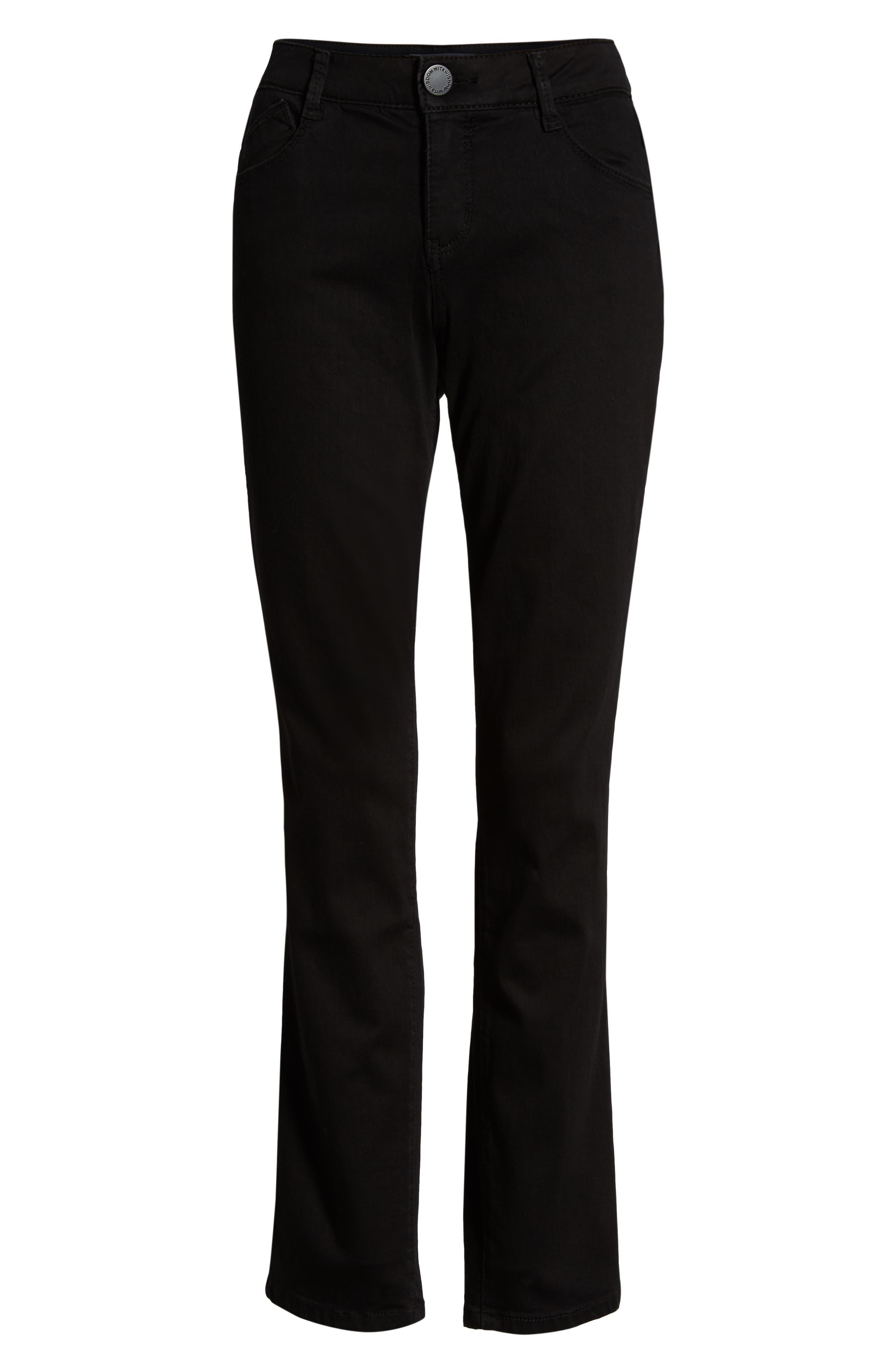 Ab-solution Straight Leg Jeans,                             Alternate thumbnail 7, color,                             BLACK
