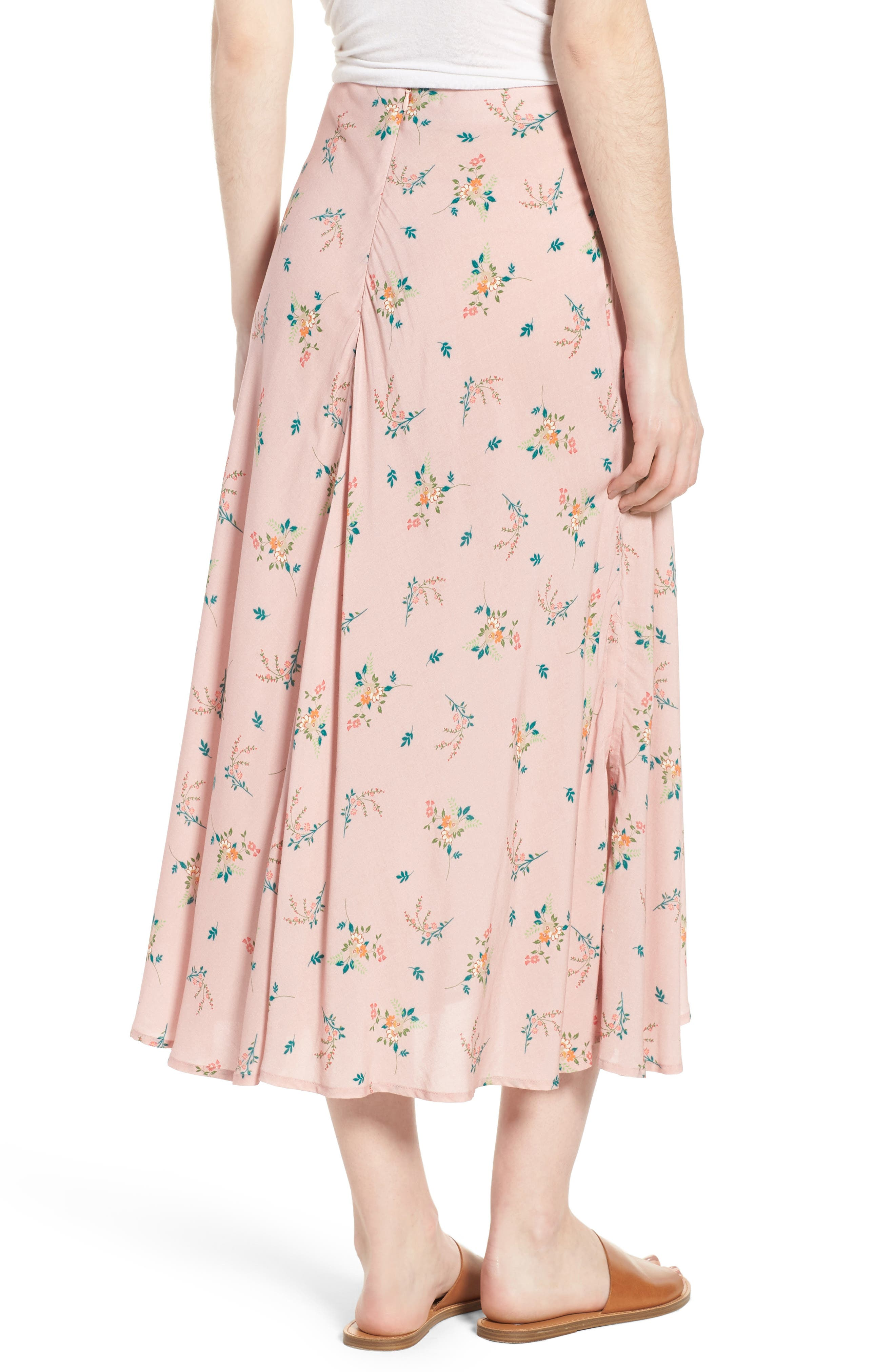 Floral Print Midi Skirt,                             Alternate thumbnail 2, color,                             657