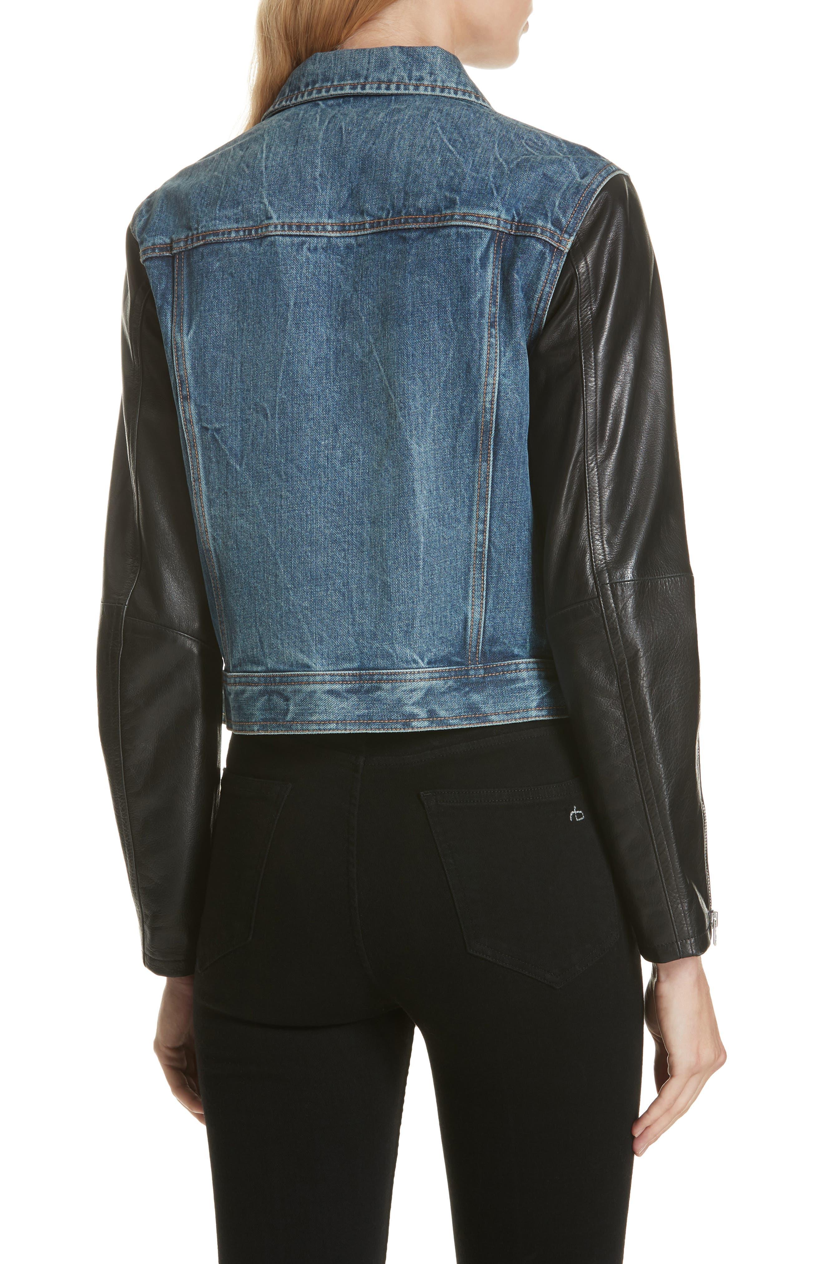 Zip Nico Denim & Leather Jacket,                             Alternate thumbnail 2, color,                             INDIGO