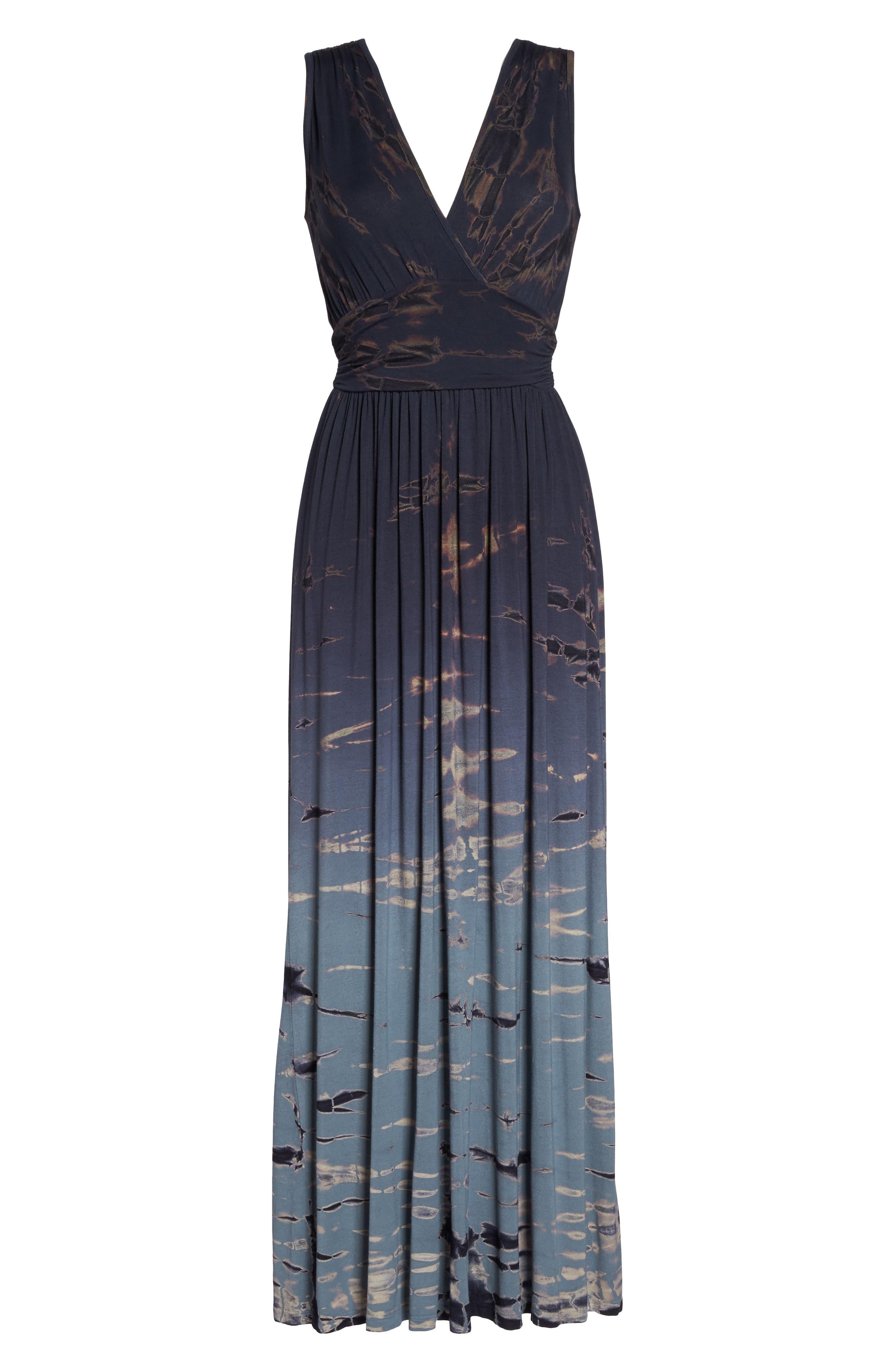 Tie Dye Ombré Jersey Maxi Dress,                             Alternate thumbnail 6, color,                             400