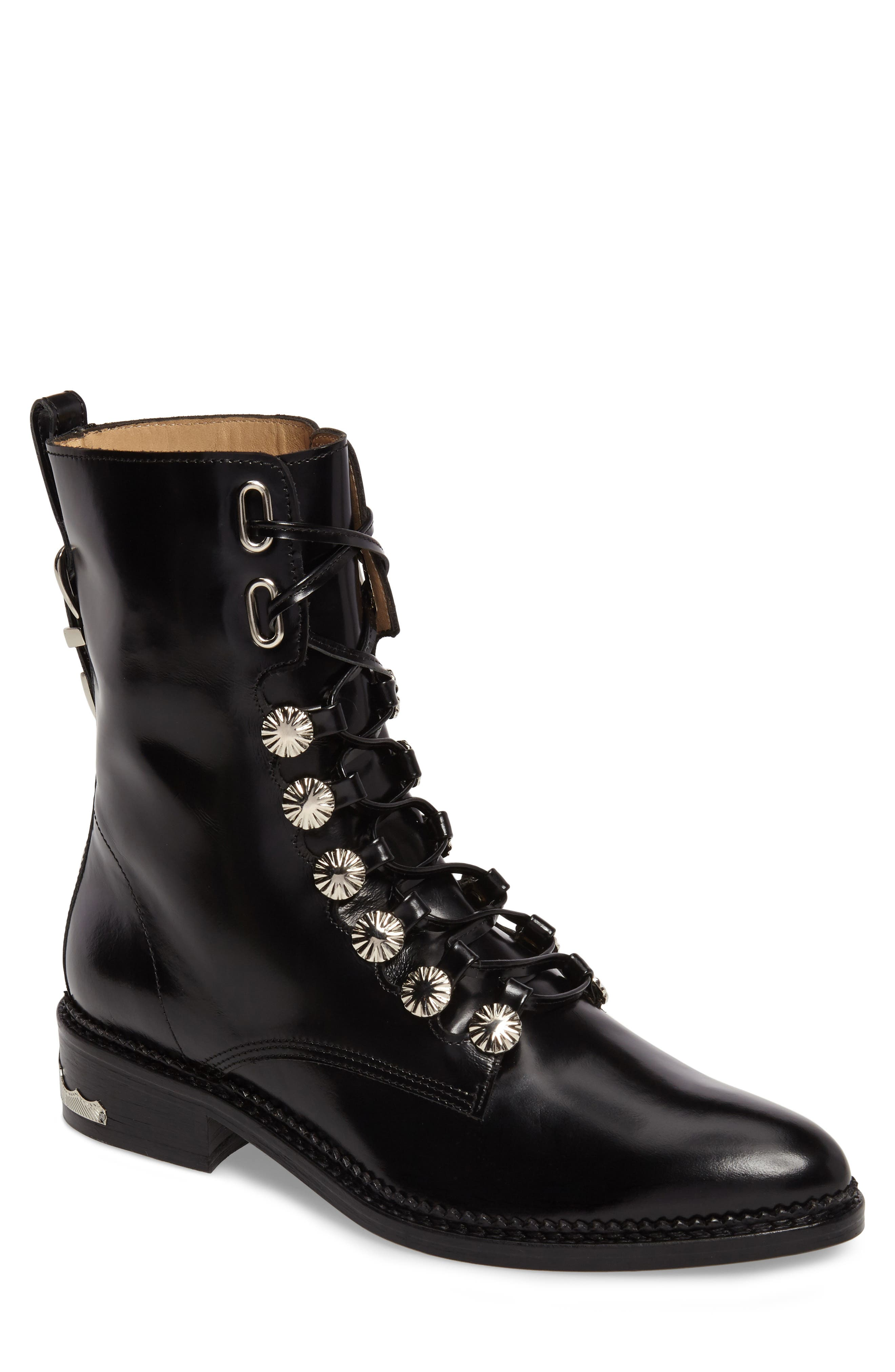 Embellished Lace-Up Boot, Main, color, 001