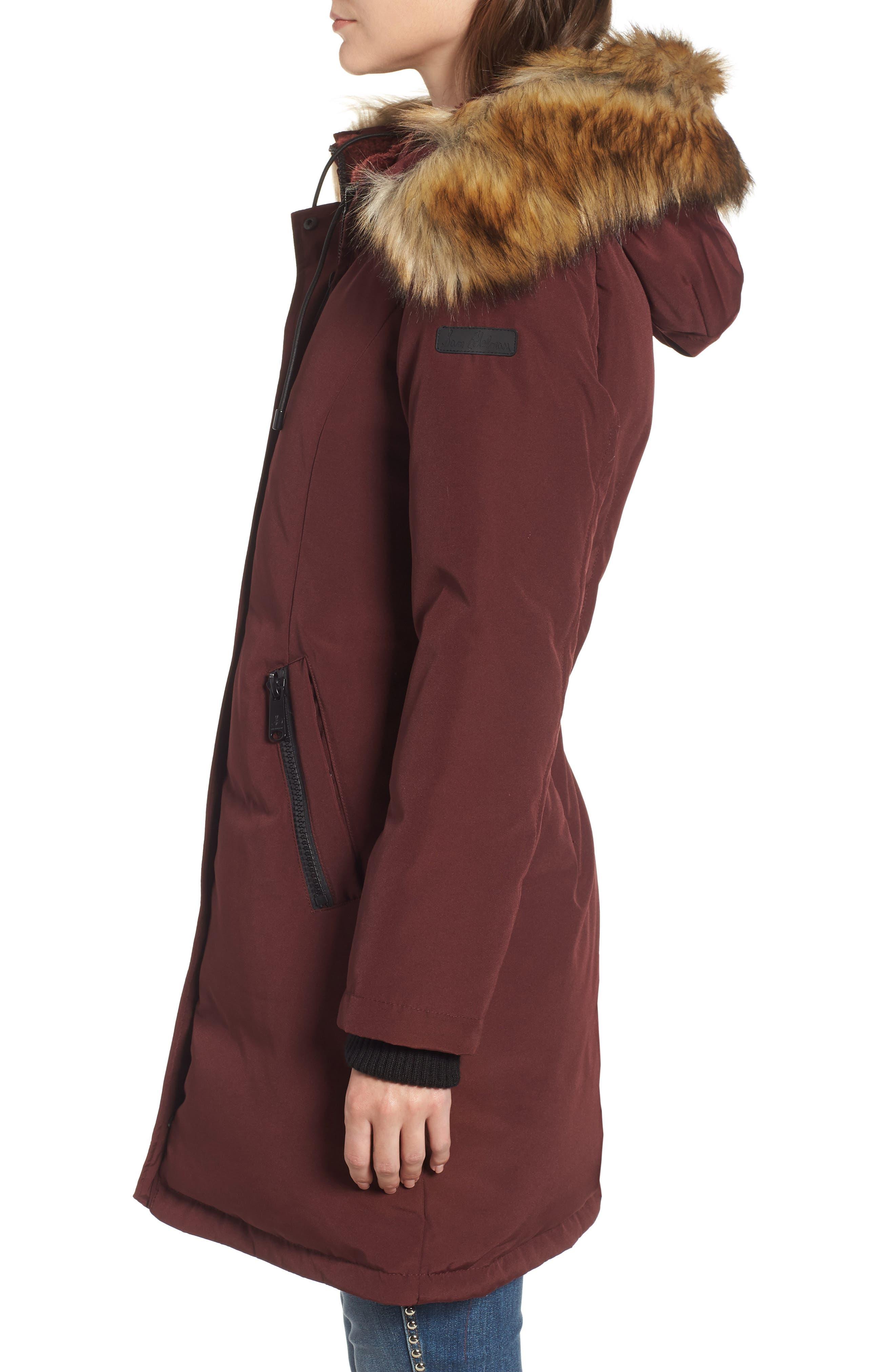 SAM EDELMAN,                             Faux Fur Trim Down Jacket,                             Alternate thumbnail 3, color,                             BURGUNDY