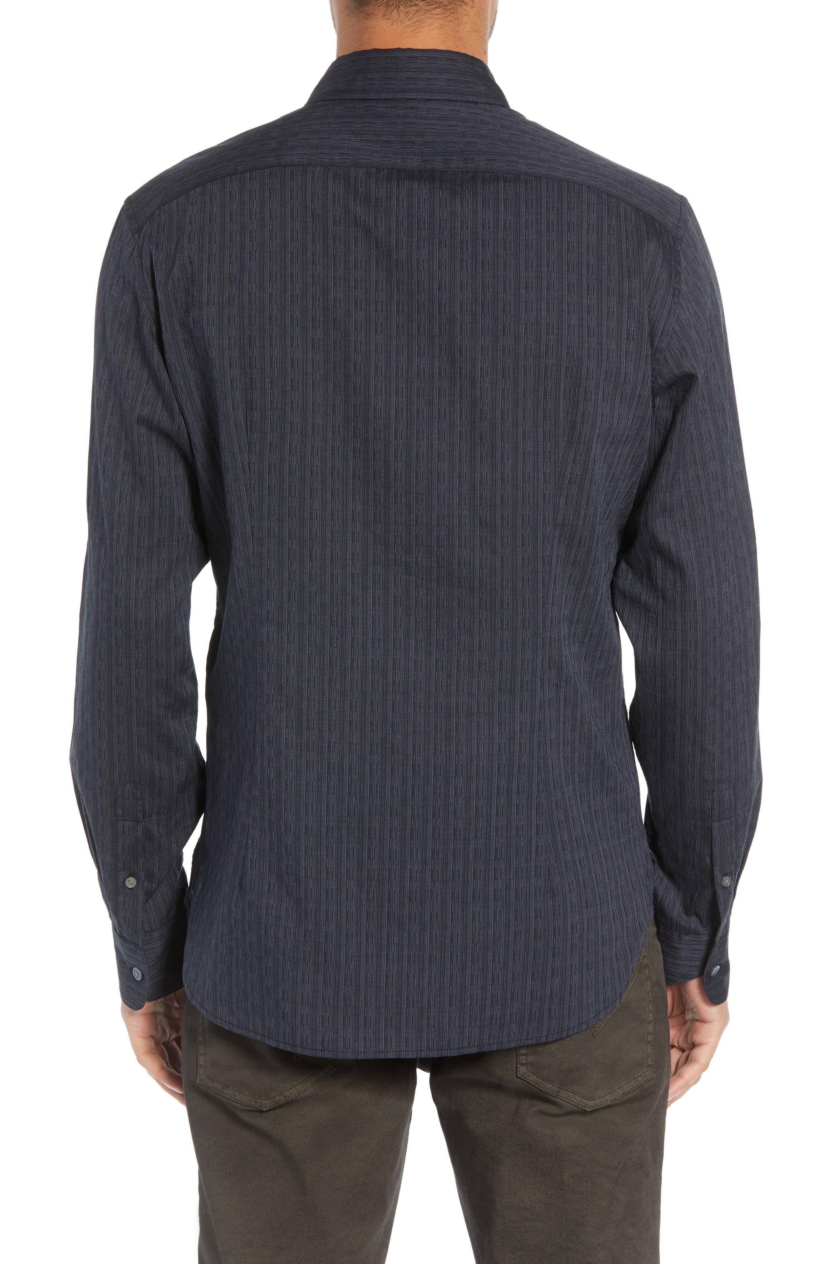 Regular Fit Roll Sleeve Sport Shirt,                             Alternate thumbnail 3, color,                             BLACK