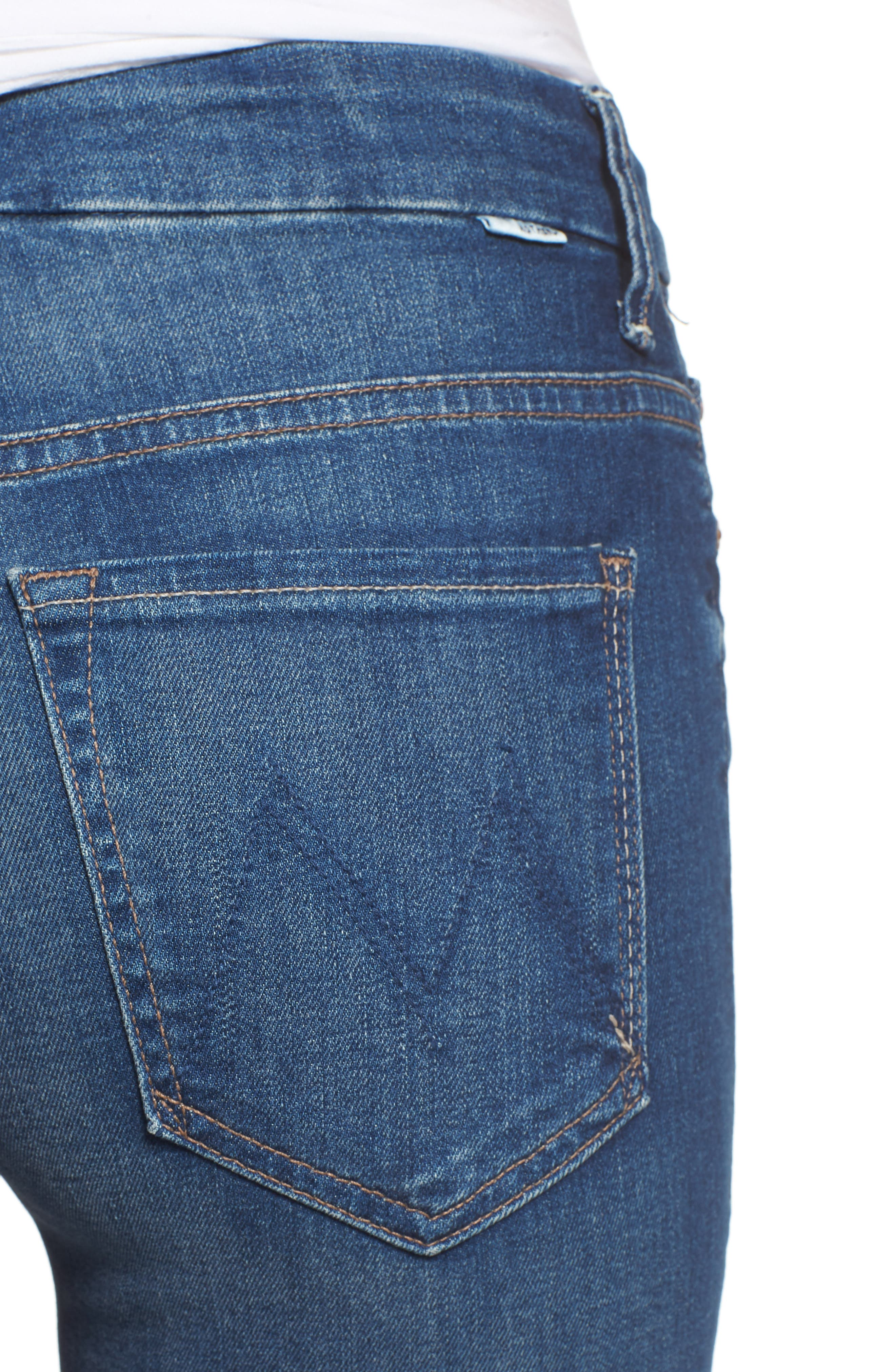 The Looker Frayed High Waist Ankle Skinny Jeans,                             Alternate thumbnail 4, color,