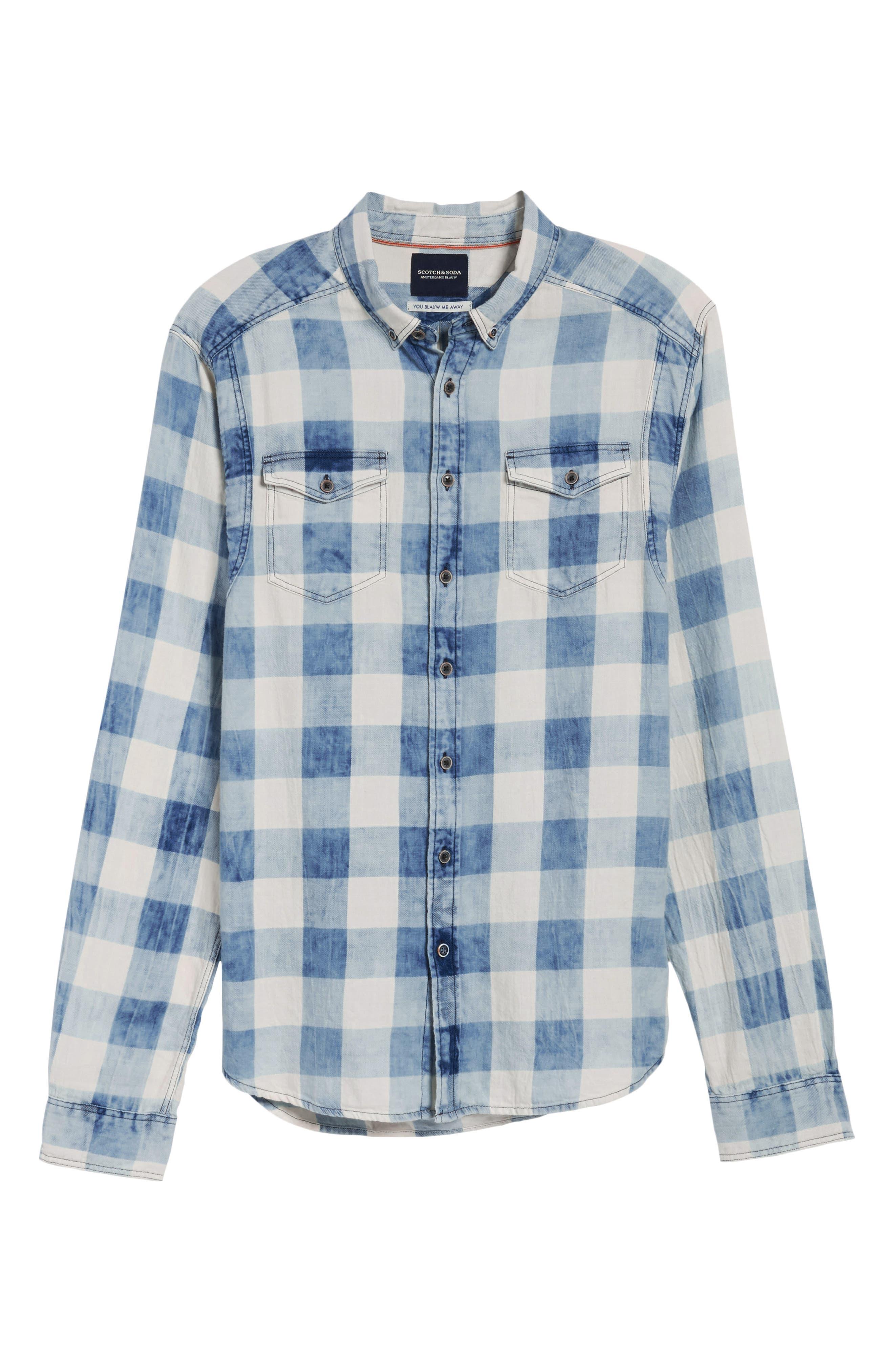 Amsterdams Blauw Check Shirt,                             Alternate thumbnail 6, color,                             400