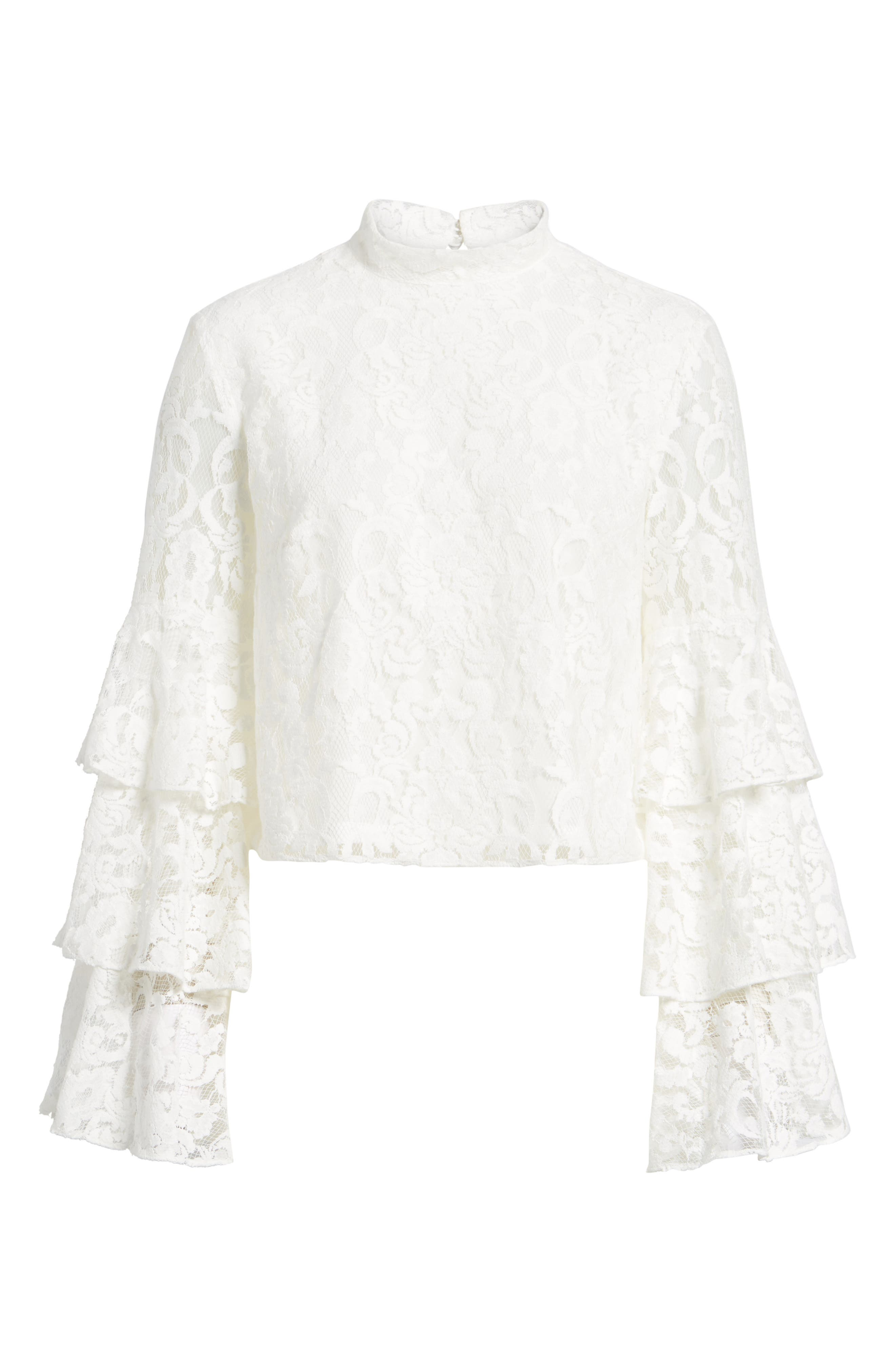 Ruffle Sleeve Lace Top,                             Alternate thumbnail 6, color,                             100