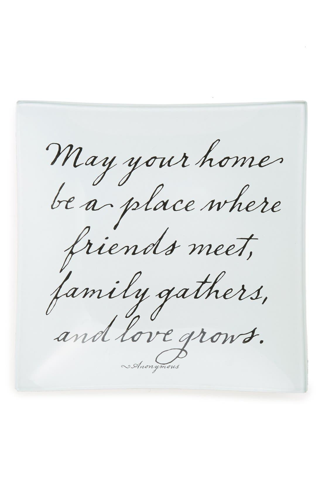 'Love Grows' Decorative Glass Tray,                         Main,                         color, 101