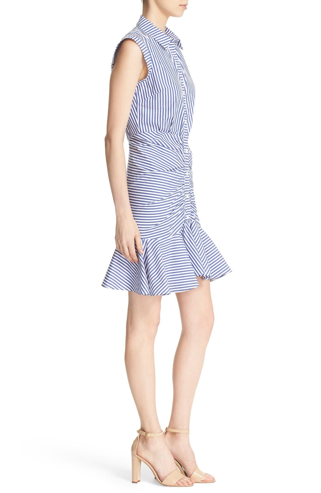Bell Stripe Ruched Shirtdress,                             Alternate thumbnail 3, color,                             BLUE/ WHITE