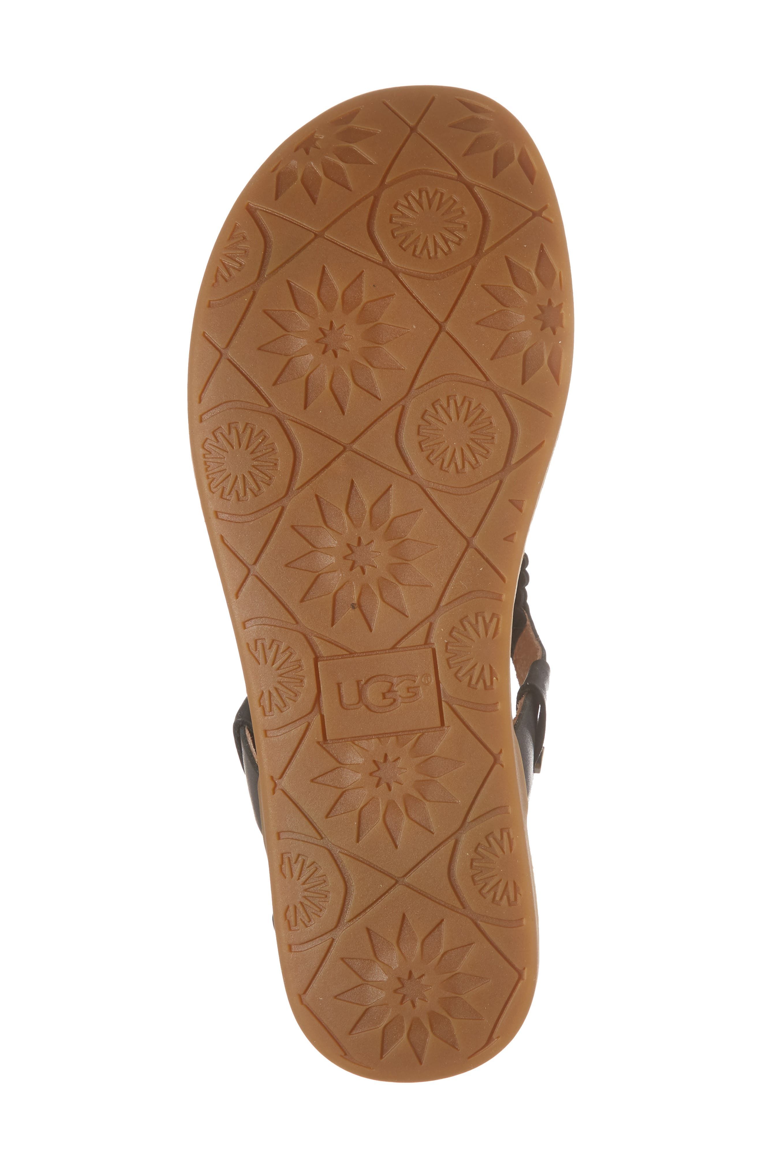 UGG<SUP>®</SUP>,                             Ayden II T-Strap Sandal,                             Alternate thumbnail 6, color,                             BLACK LEATHER