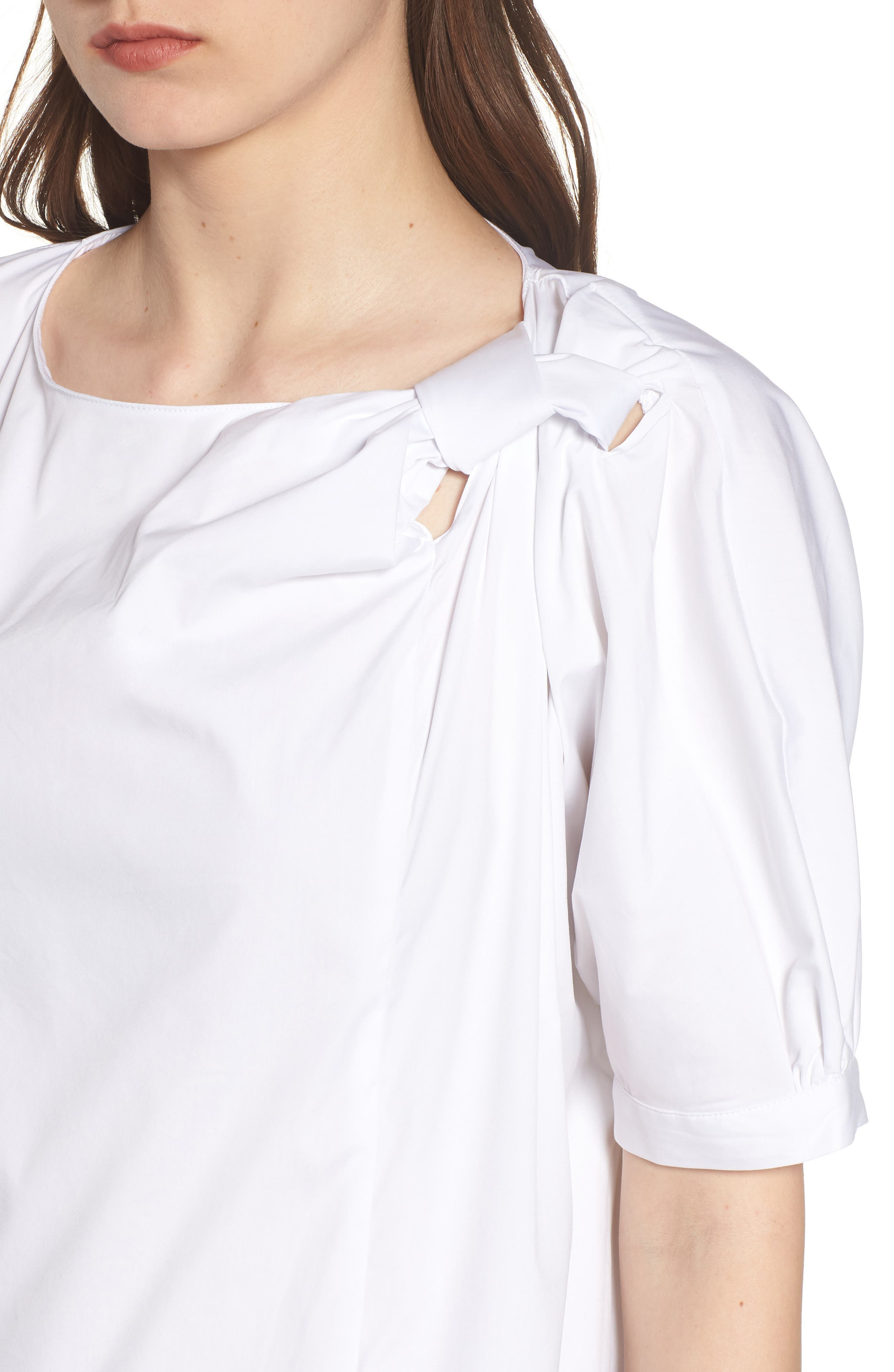 Knot Neck Top,                             Alternate thumbnail 4, color,                             WHITE