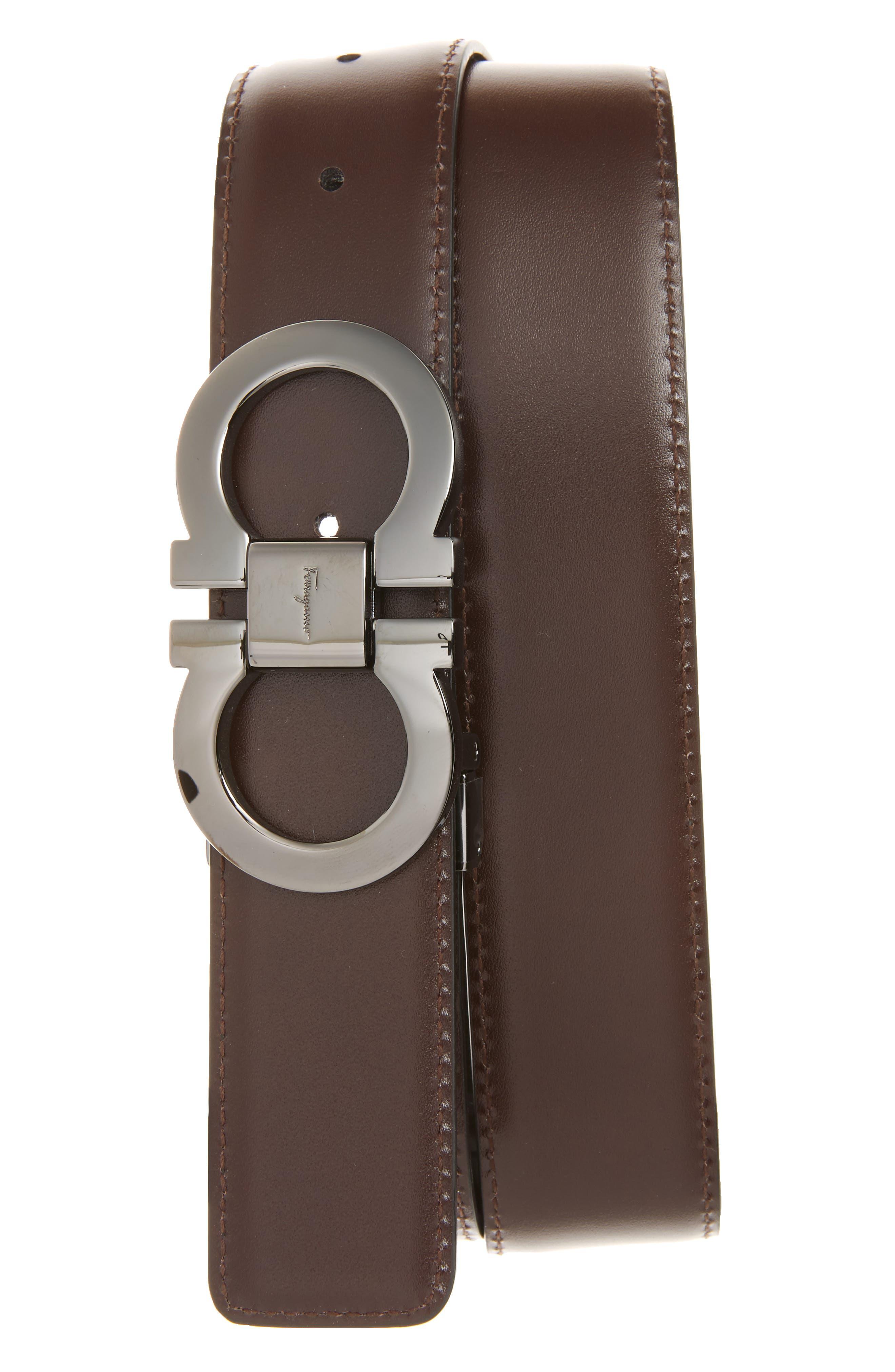 Reversible Leather Belt,                             Alternate thumbnail 2, color,                             BLACK/ AUBURN