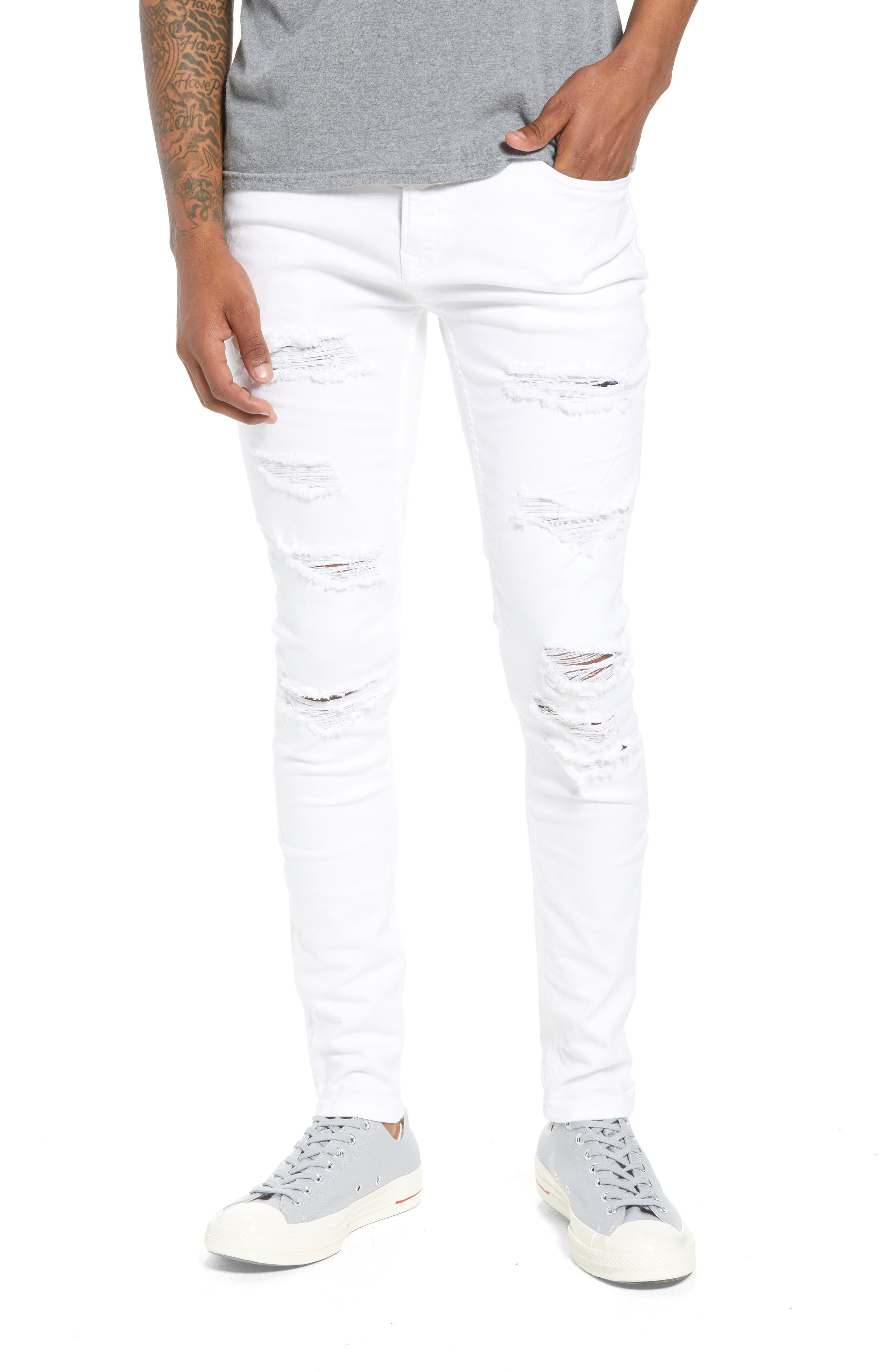 Skinny Spray On Ripped Jeans,                             Main thumbnail 1, color,                             WHITE