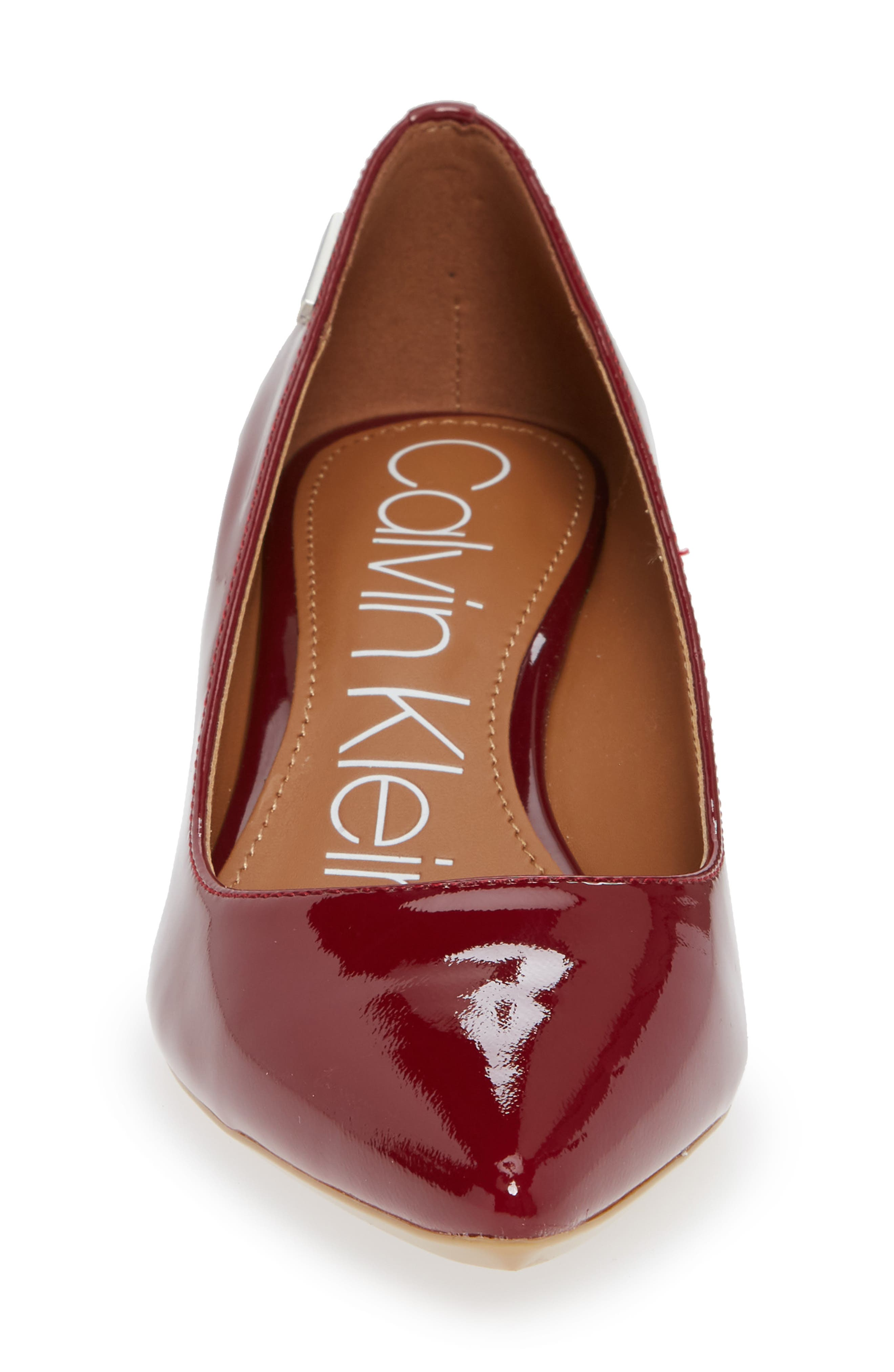 'Germina' Pointy Toe Wedge,                             Alternate thumbnail 4, color,                             RED ROCK PATENT