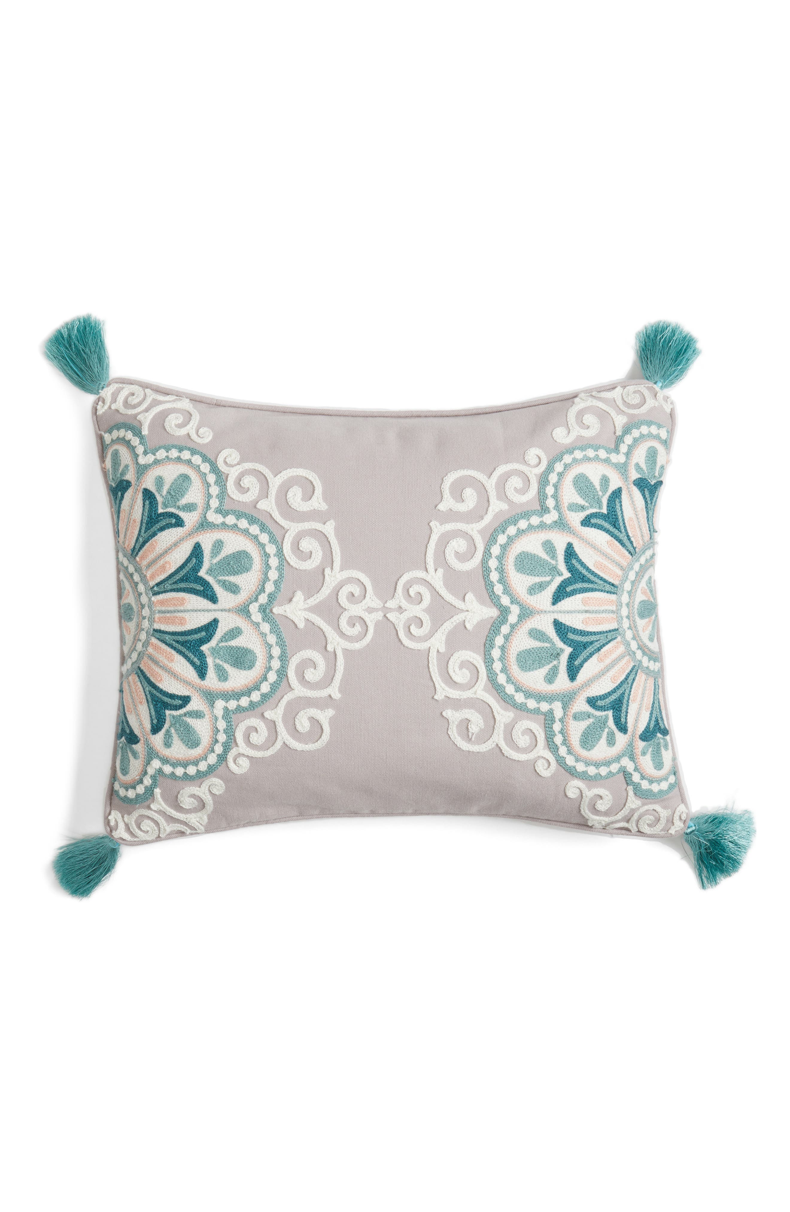 Addie Embroidered Tassel Pillow,                             Main thumbnail 1, color,                             020