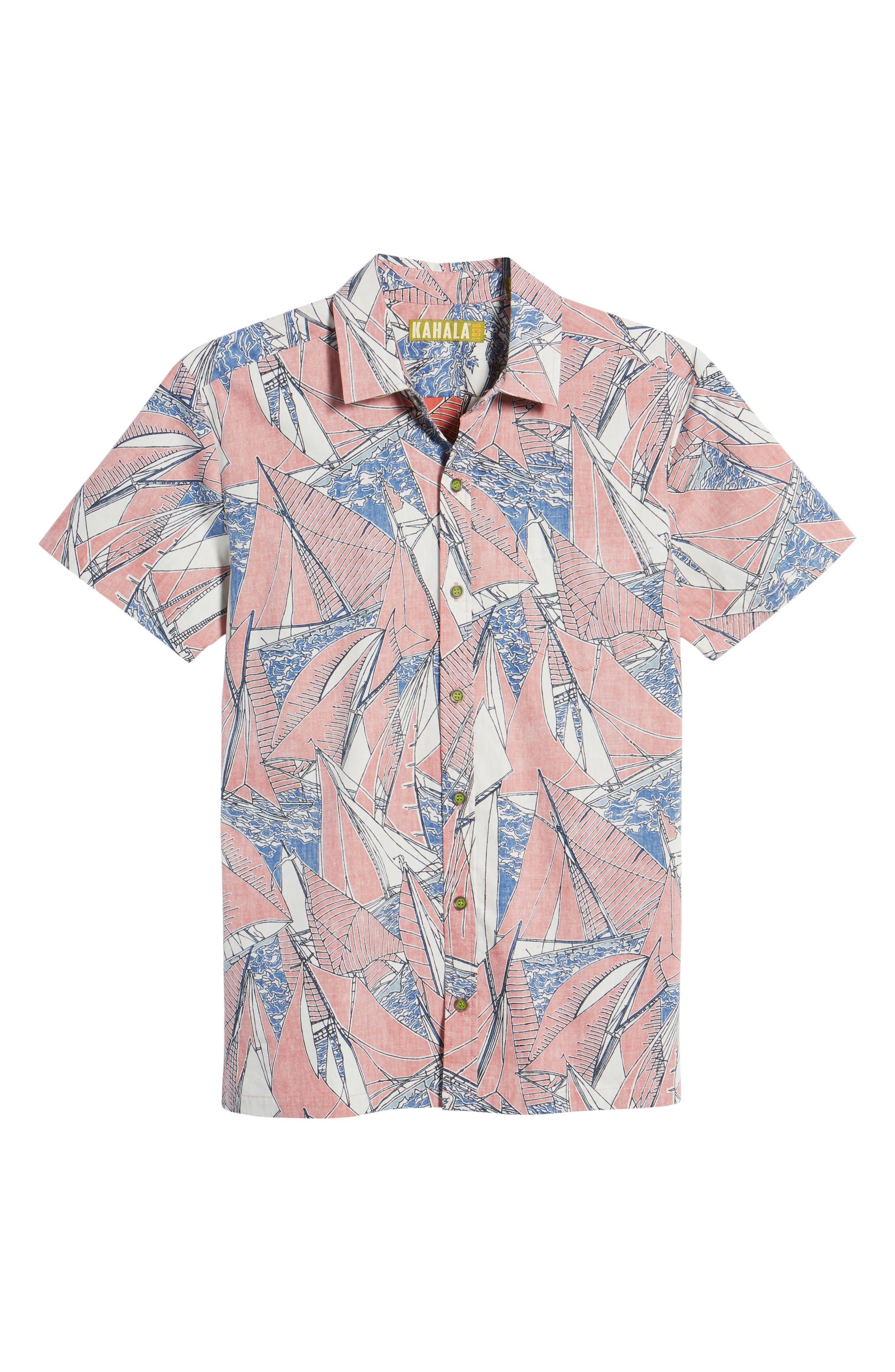 Broad Reach Trim Fit Camp Shirt,                             Alternate thumbnail 6, color,                             605