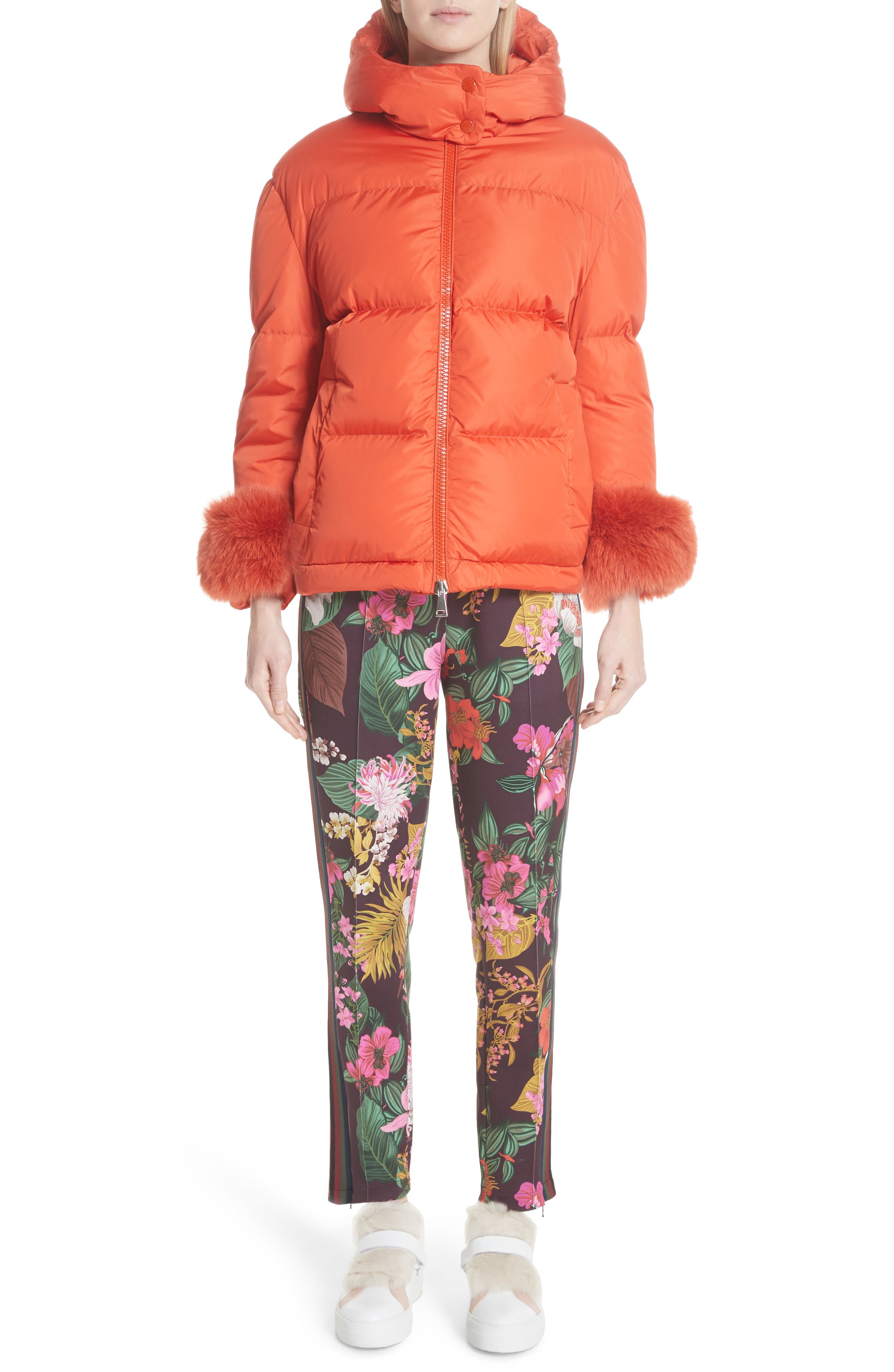 MONCLER,                             Effraie Hooded Down Coat with Removable Genuine Fox Fur Cuffs,                             Alternate thumbnail 8, color,                             ORANGE