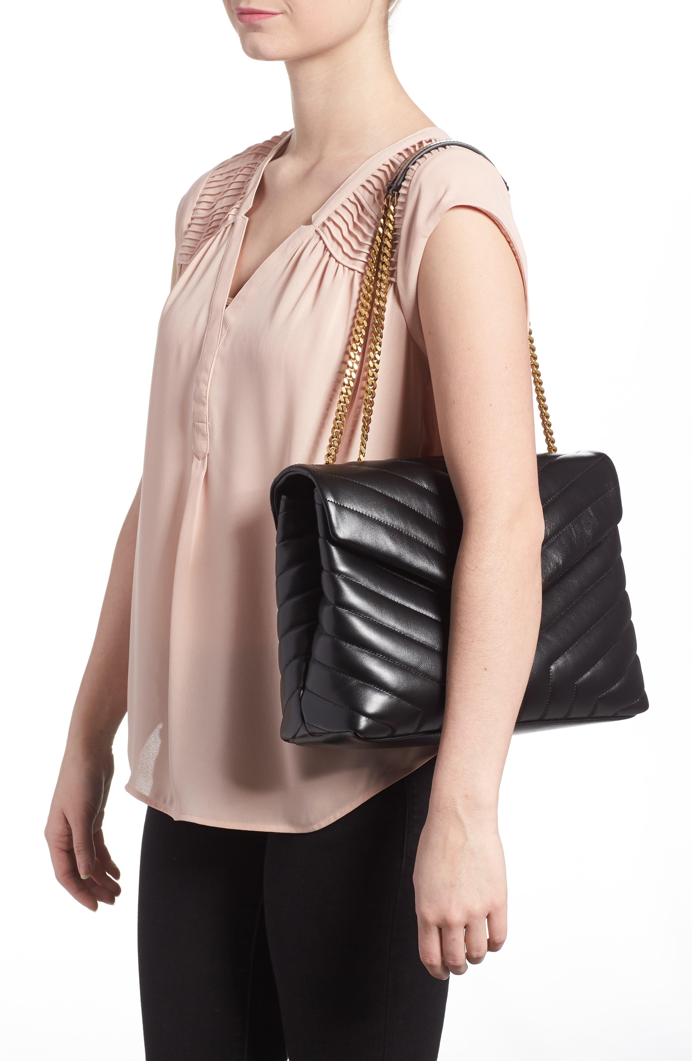 Medium Loulou Matelassé Calfskin Leather Shoulder Bag,                             Alternate thumbnail 2, color,                             NOIR/ GOLD