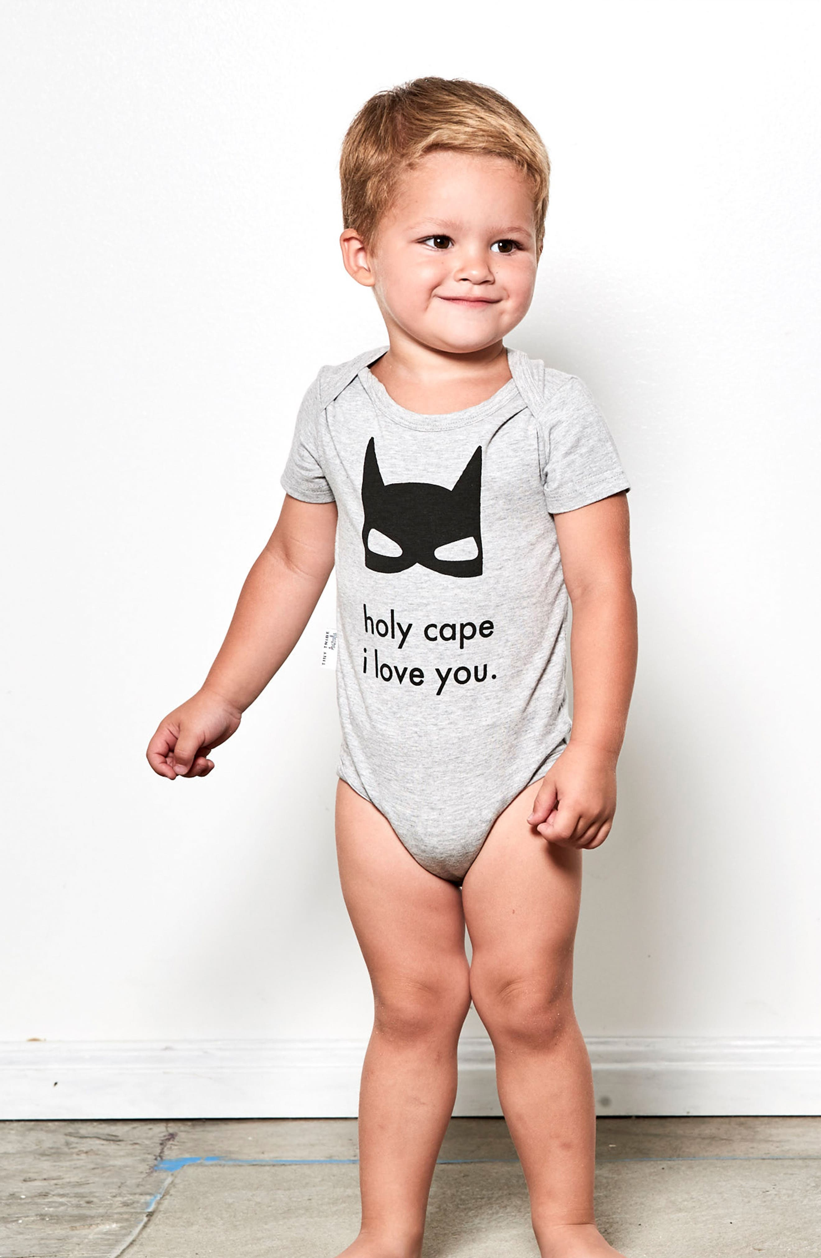 Holy Cape I Love You Bodysuit & Pants Set,                             Alternate thumbnail 3, color,