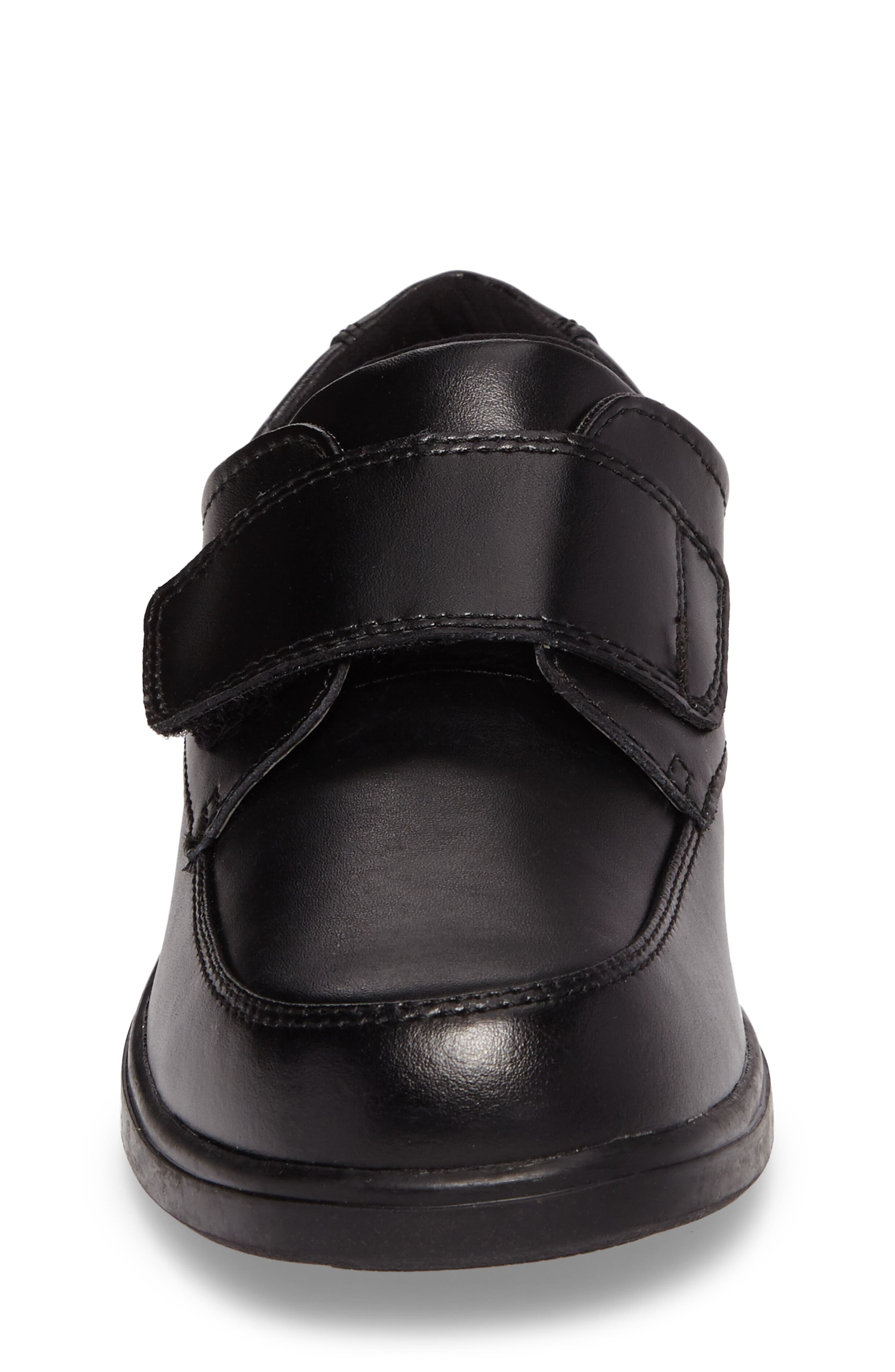 Hush Puppies Gavin Front Strap Dress Shoe,                             Alternate thumbnail 4, color,                             BLACK LEATHER
