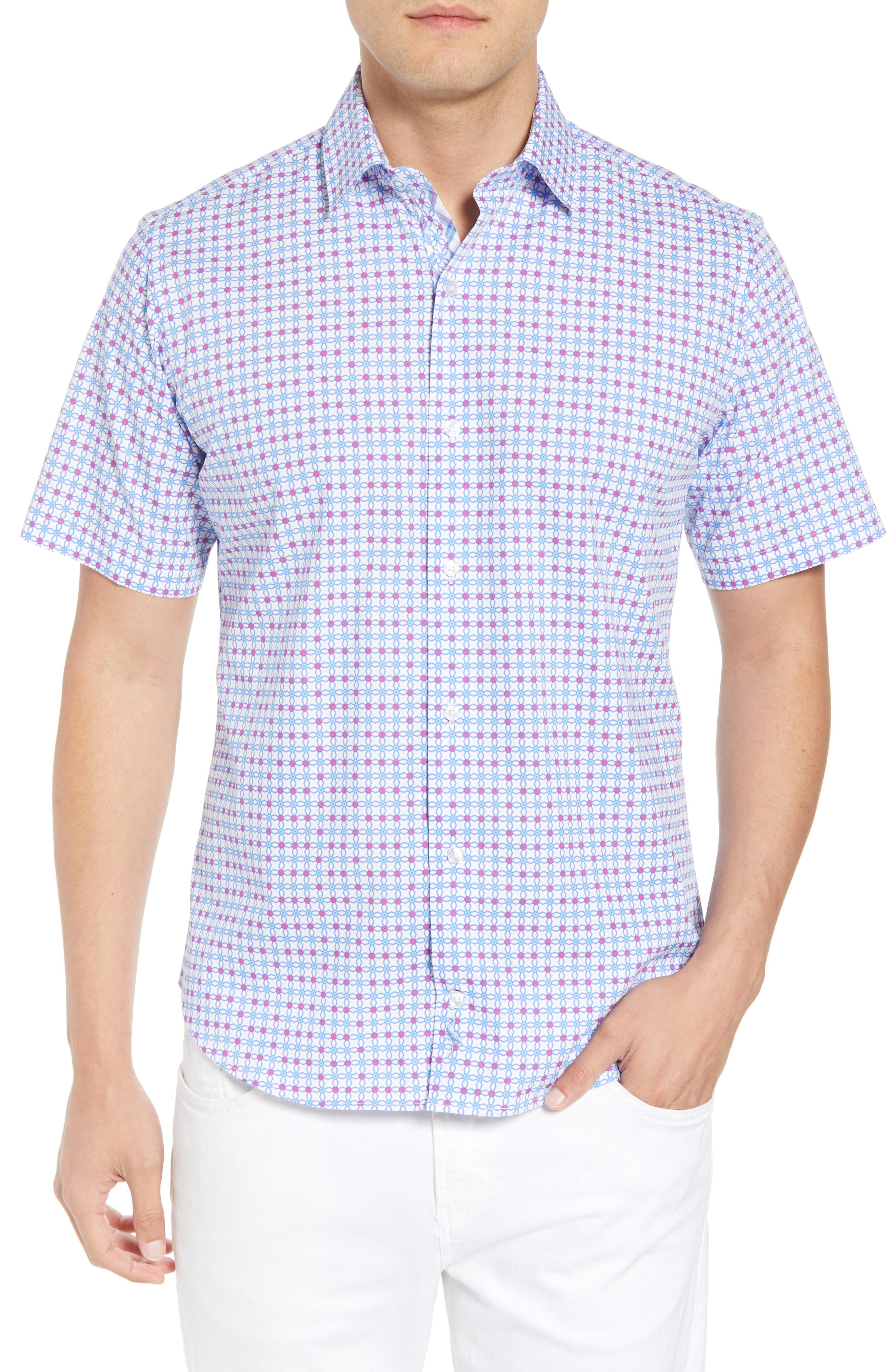 Andres Regular Fit Geo Print Sport Shirt,                         Main,                         color, 465