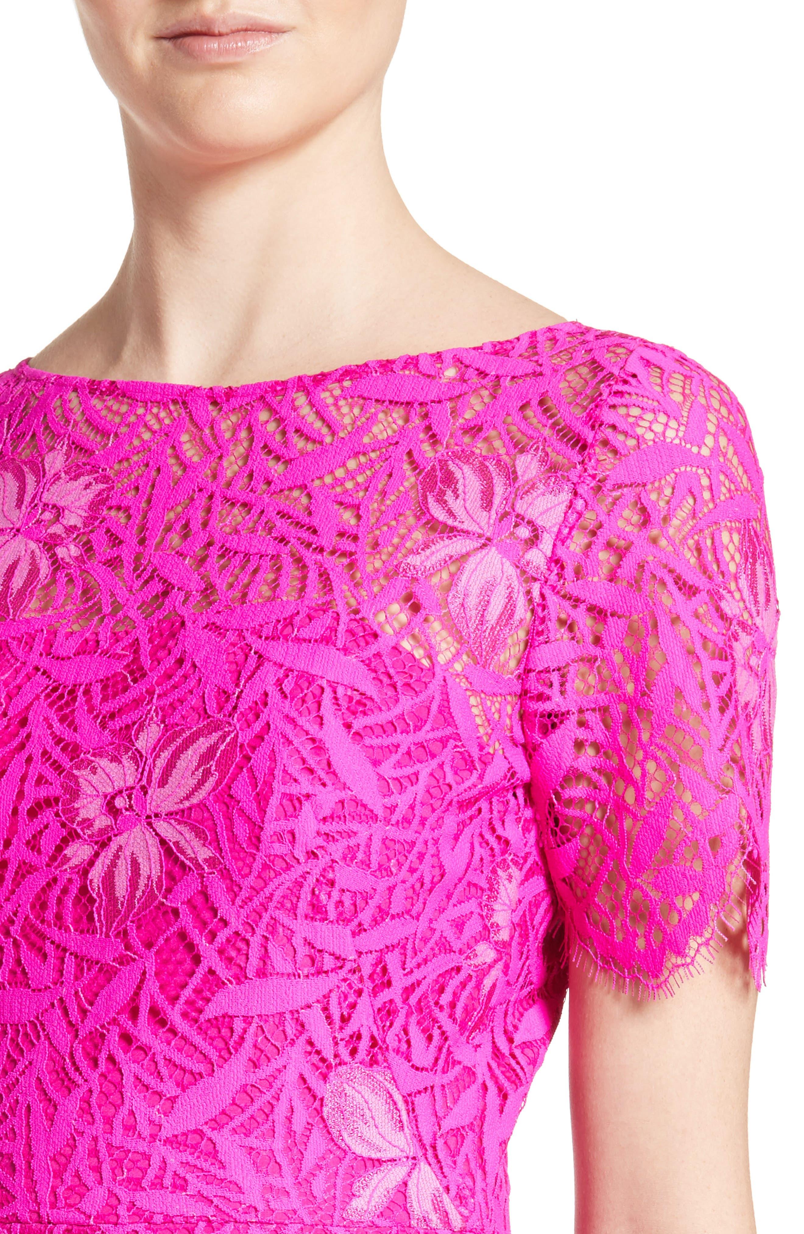 Floral Lace Sheath Dress,                             Alternate thumbnail 4, color,                             659