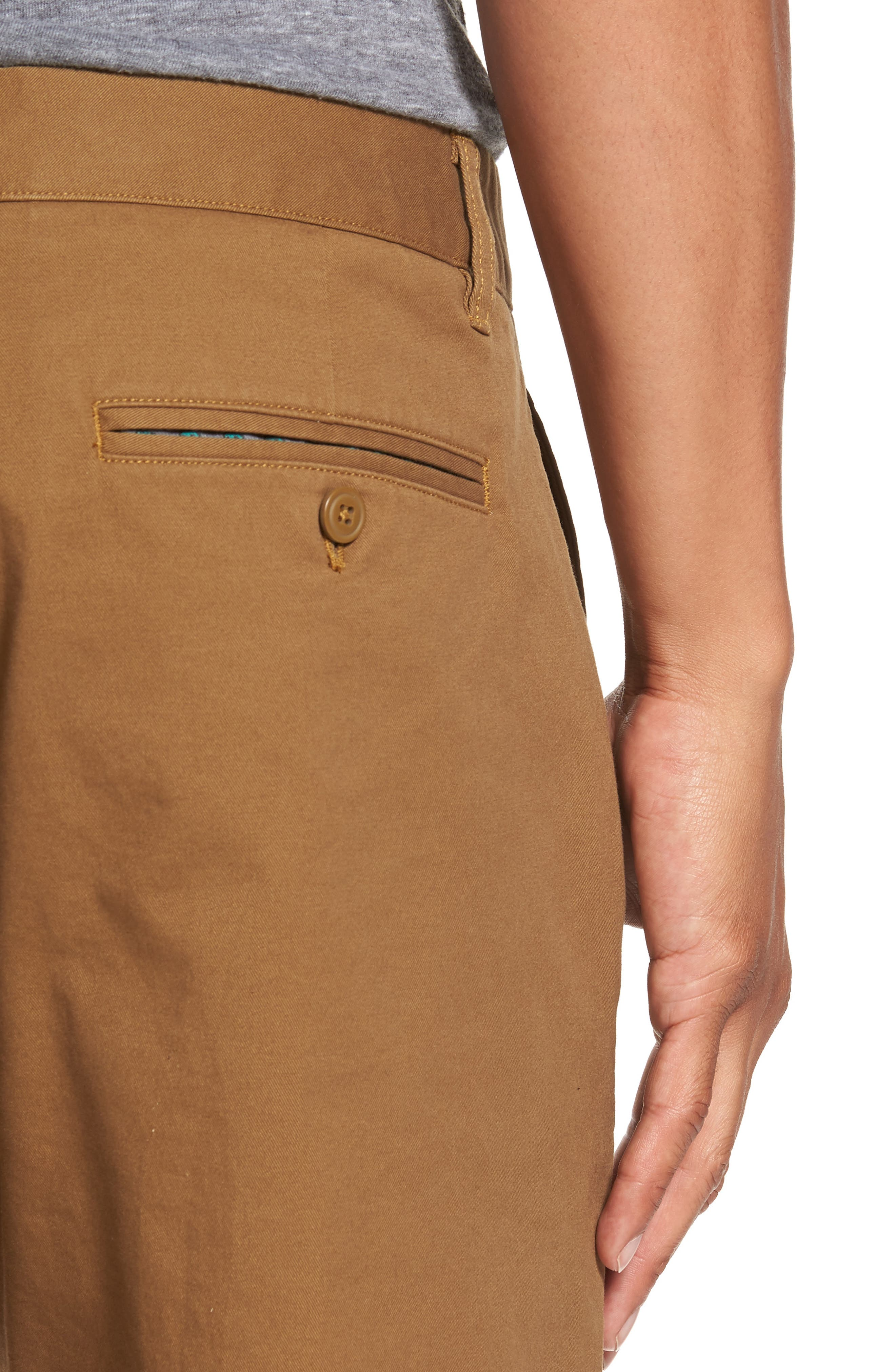 Slim Fit Stretch Washed Chinos,                             Alternate thumbnail 4, color,                             CHESTNUTS