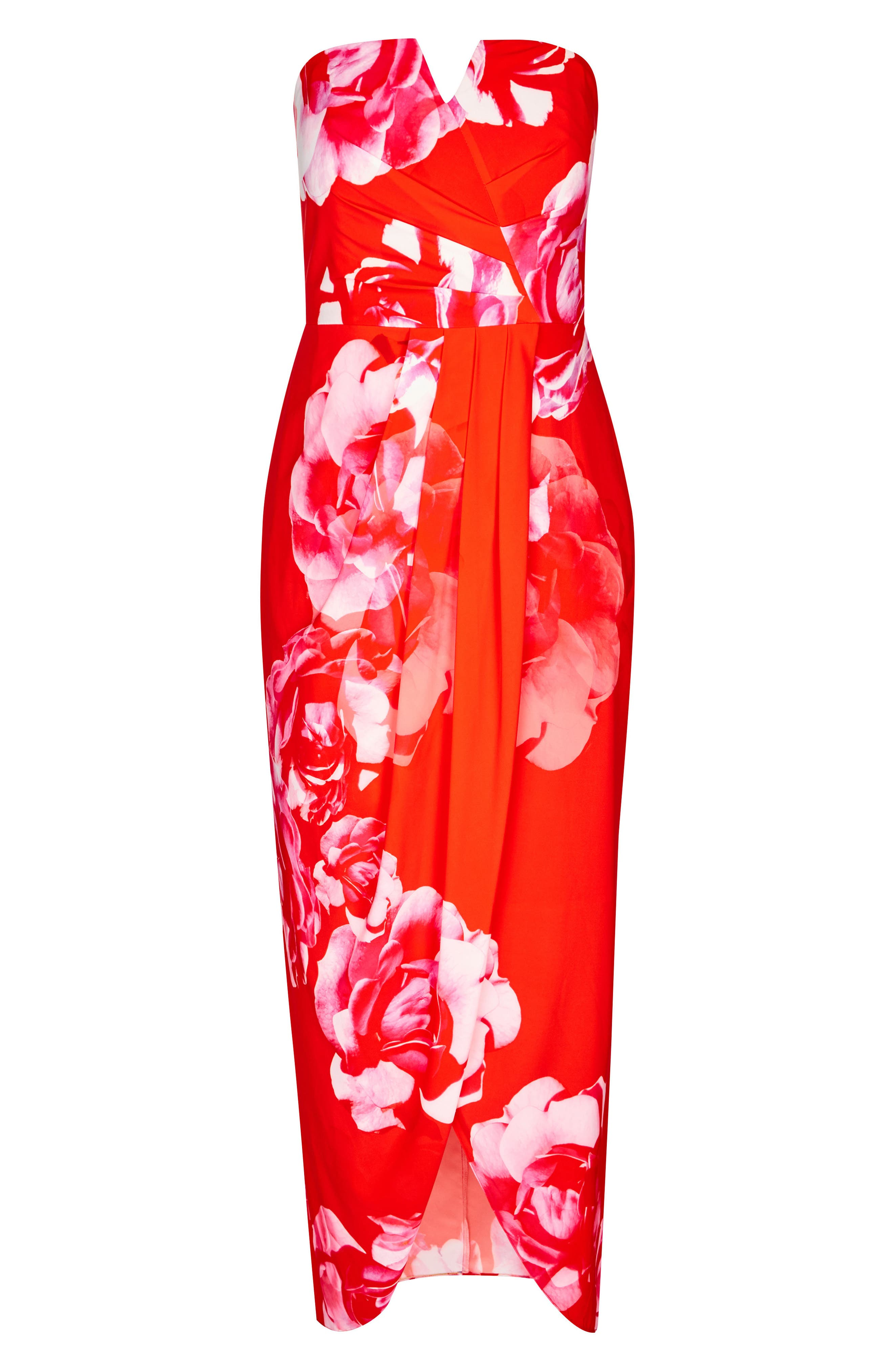Tango Floral Strapless Maxi Dress,                             Alternate thumbnail 5, color,                             TANGO FLORAL