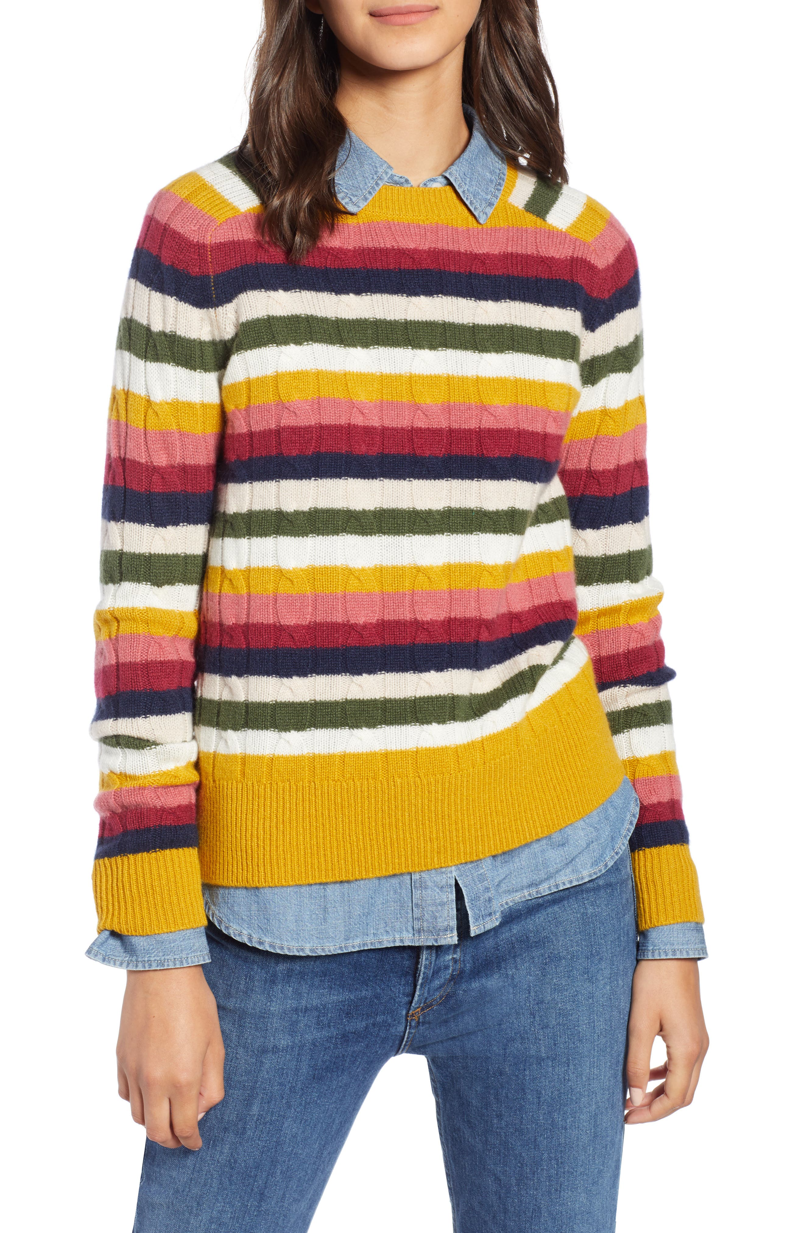 Cashmere Cable Sweater,                             Main thumbnail 1, color,                             RED MULTI HAPPY STRIPE
