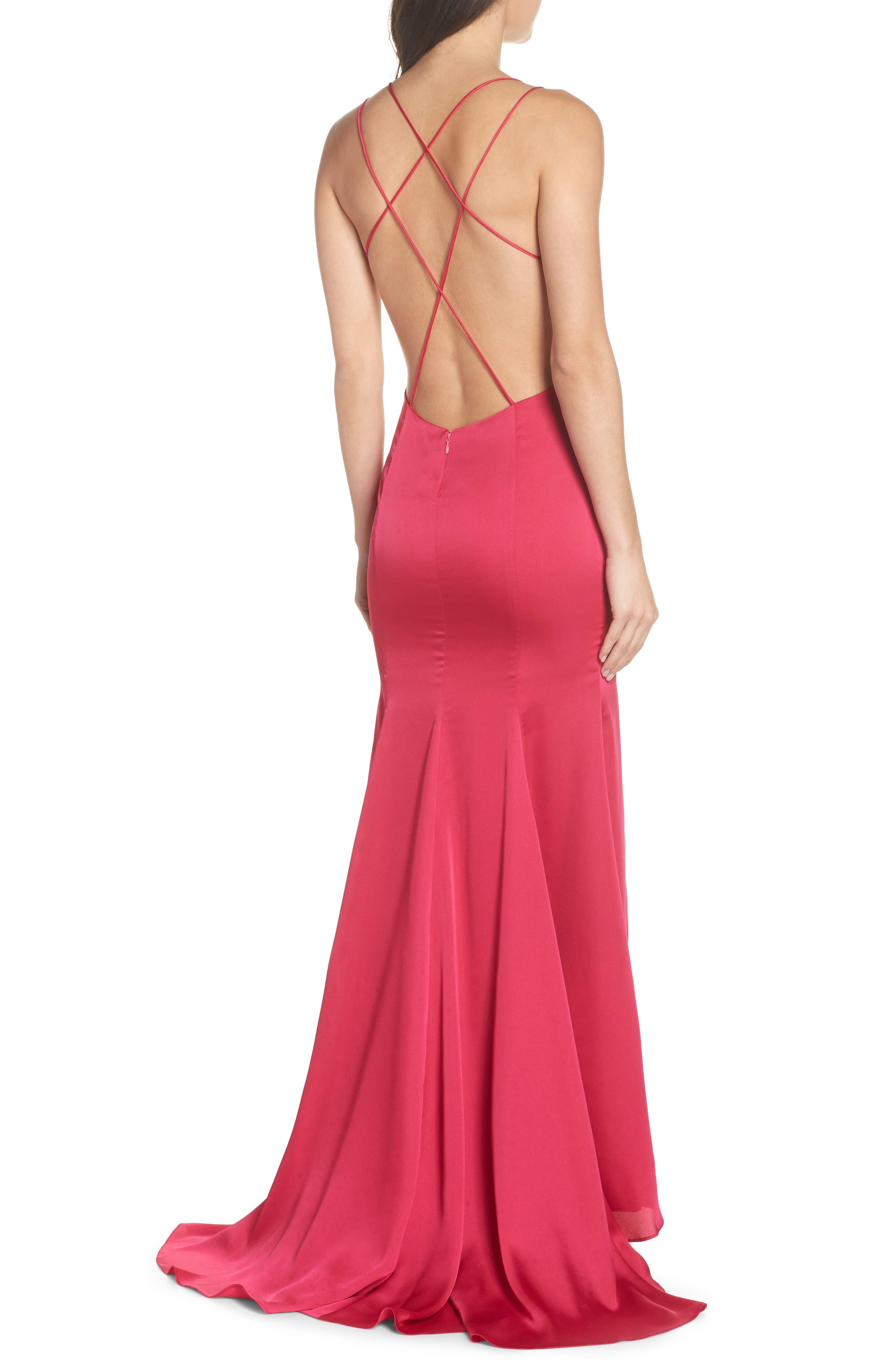 The Thora Satin Gown,                             Alternate thumbnail 2, color,                             FUCHSIA