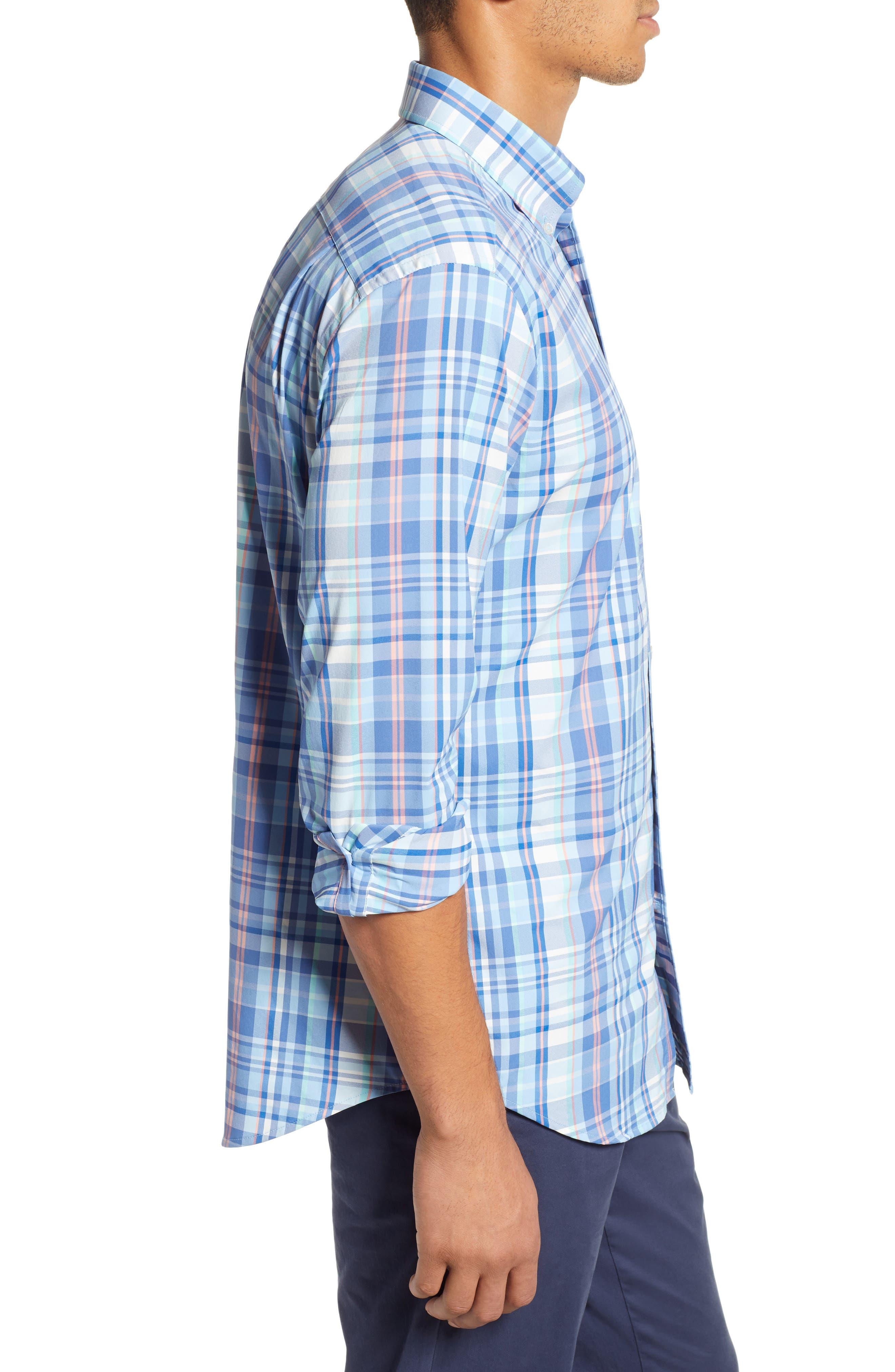 Siesta Intercoastal Regular Fit Plaid Performance Sport Shirt,                             Alternate thumbnail 4, color,                             SKY BLUE