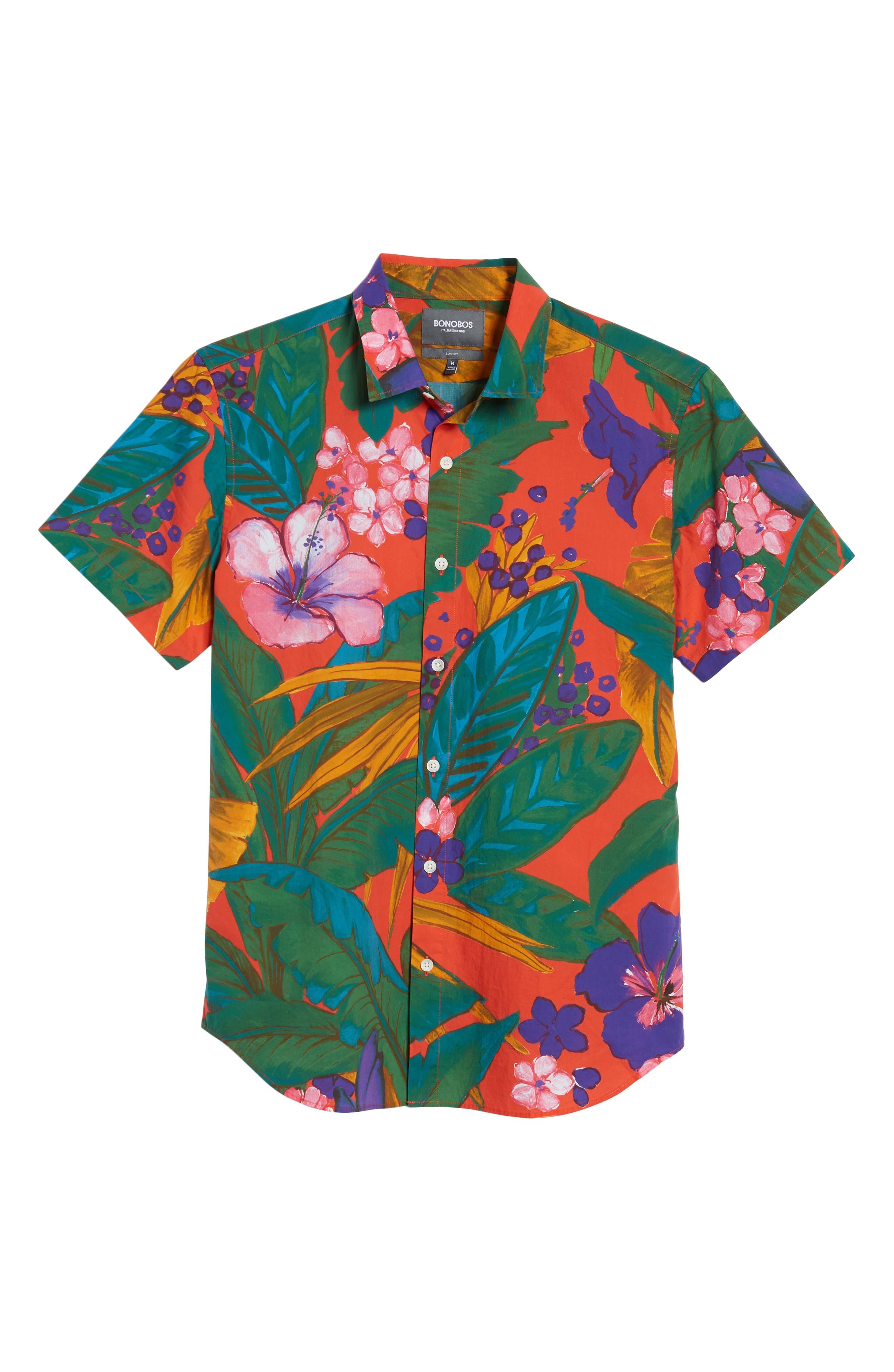 Premium Slim Fit Print Sport Shirt,                             Alternate thumbnail 6, color,                             650