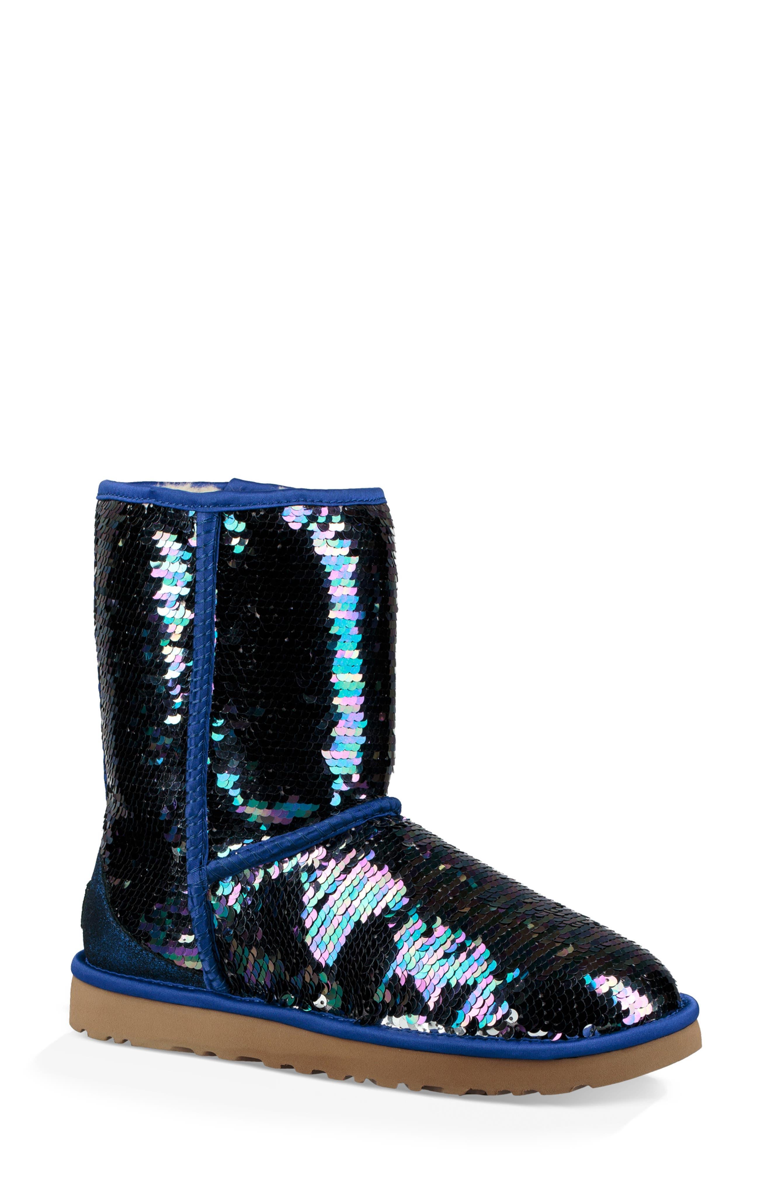 Ugg Classic Short Sequin Boot, Blue