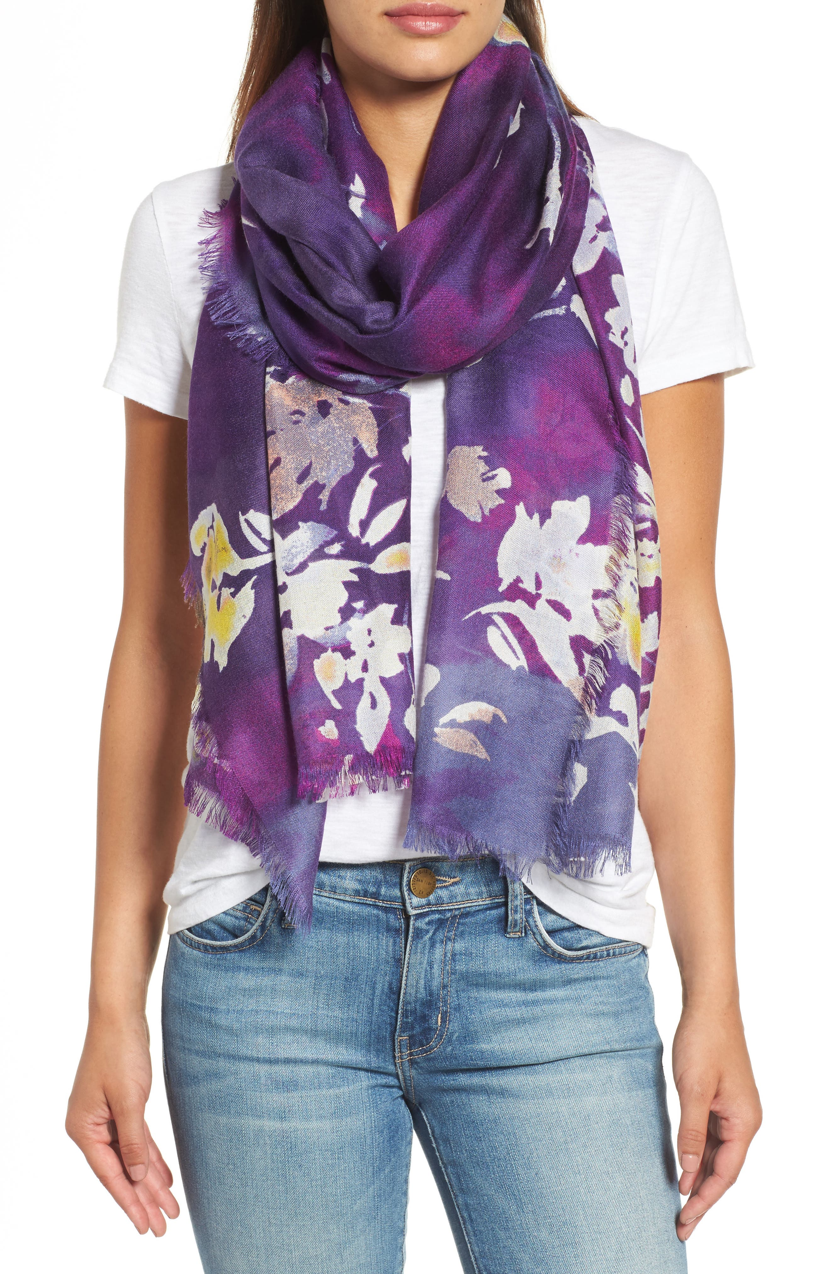 Musical Flower Cashmere & Silk Scarf,                             Main thumbnail 2, color,