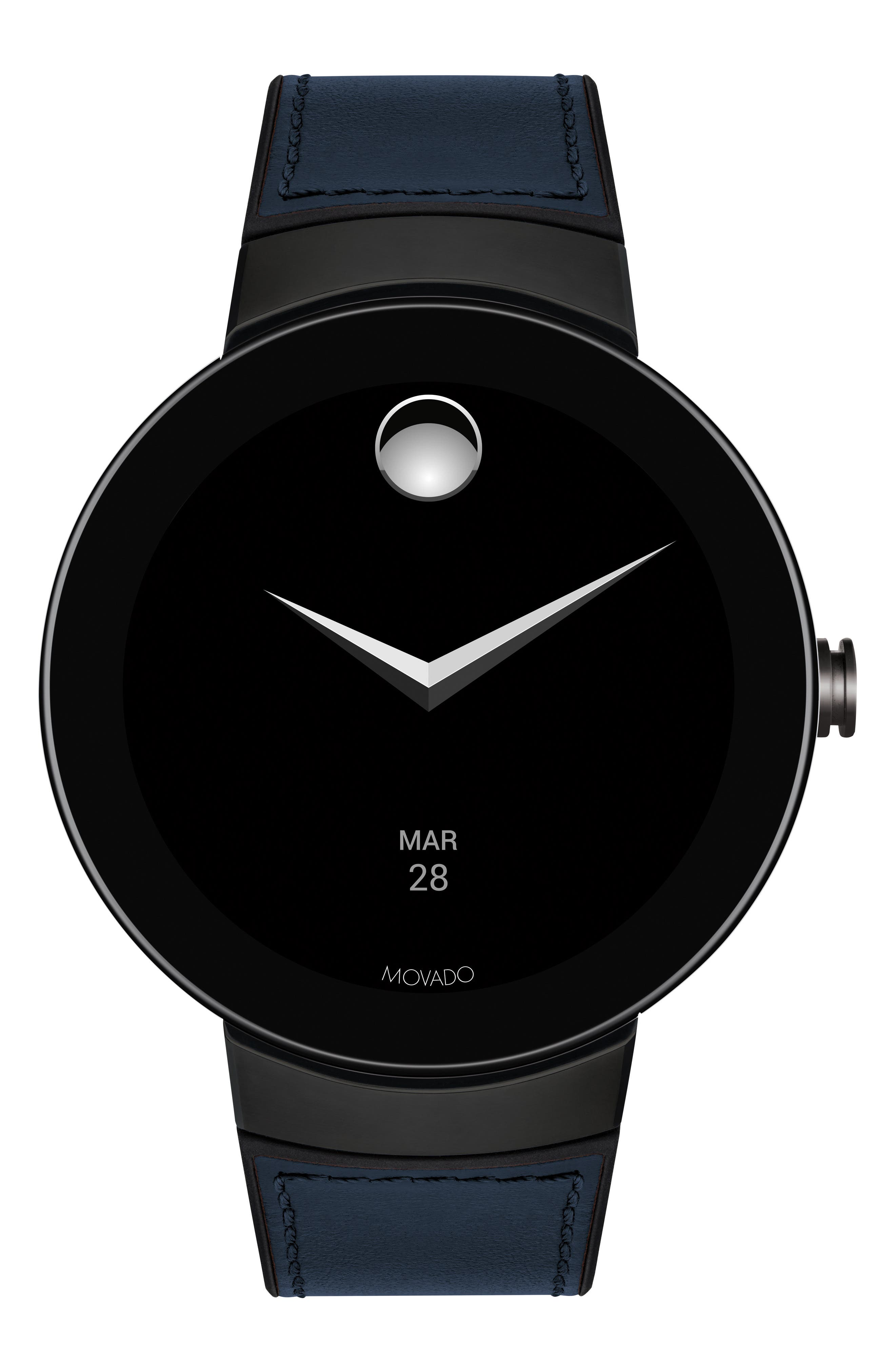 Connect Silicone & Leather Strap Smart Watch, 44mm,                             Main thumbnail 1, color,                             NAVY/ BLACK/ GUNMETAL