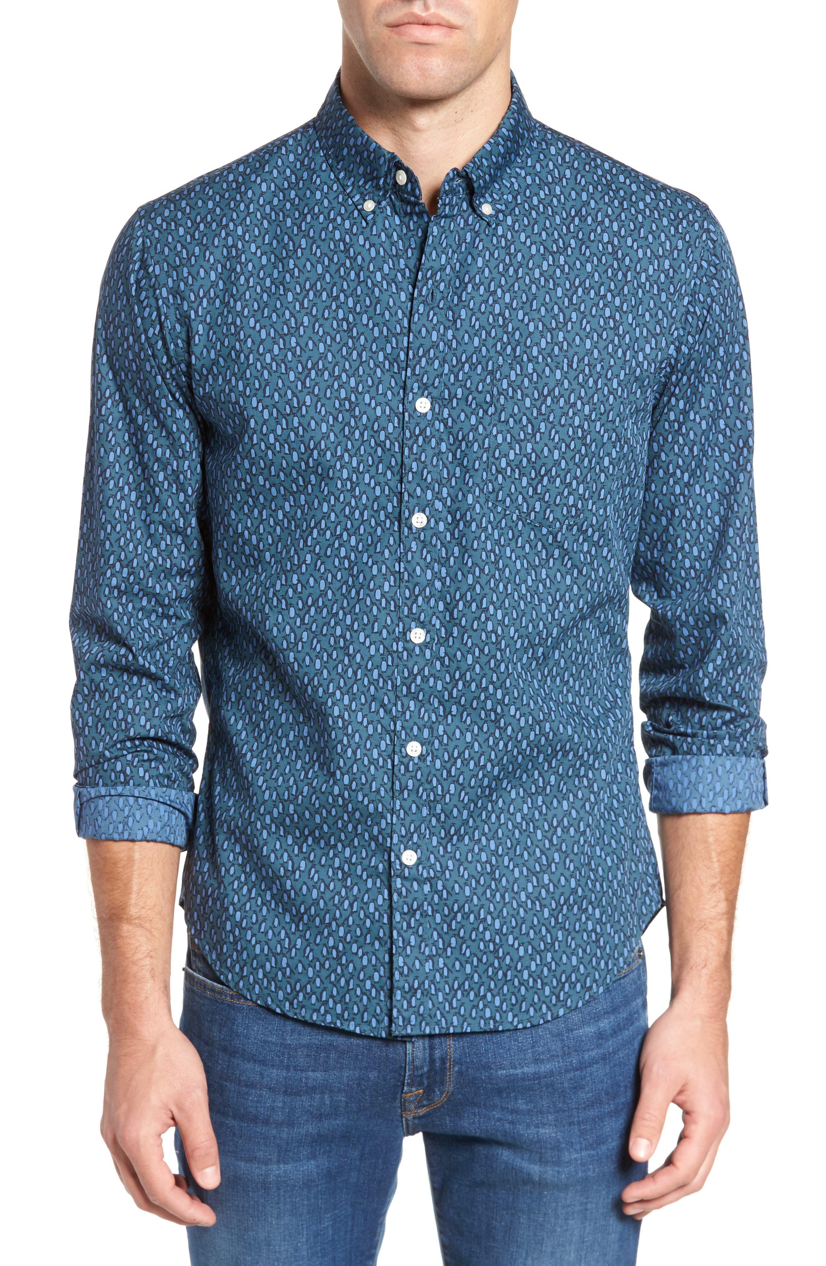 Slim Fit Washed Penguin Print Sport Shirt,                         Main,                         color,