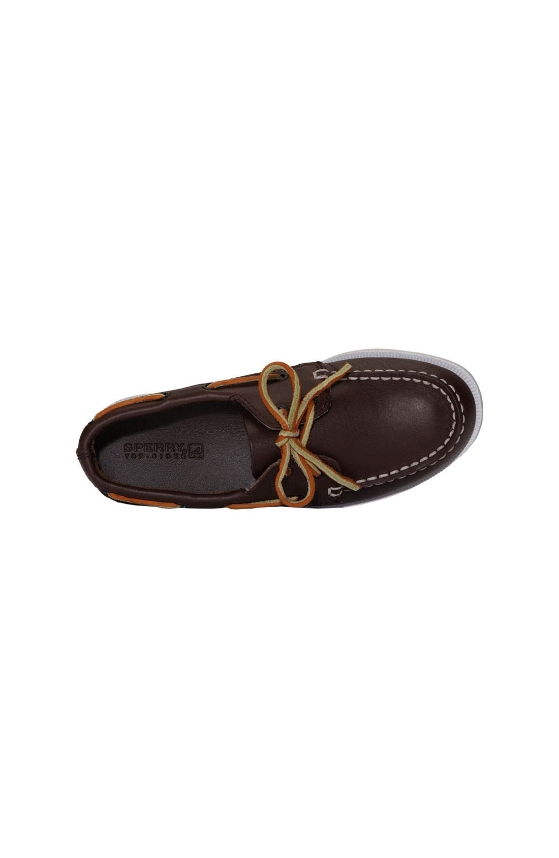 SPERRY KIDS,                             'Authentic Original' Boat Shoe,                             Alternate thumbnail 10, color,                             BROWN LEATHER