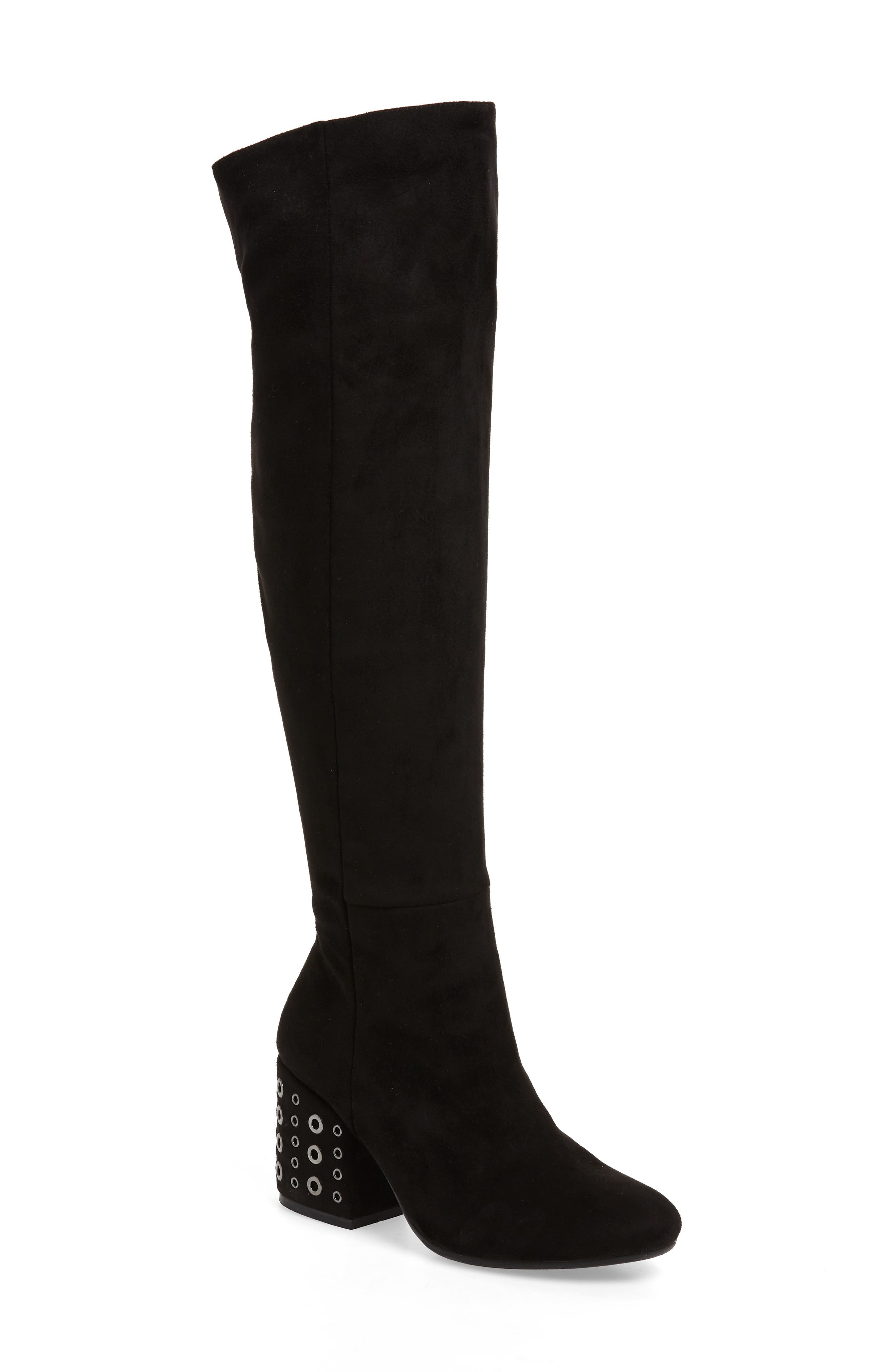 Ellaria Over the Knee Boot,                             Main thumbnail 1, color,                             BLACK FABRIC