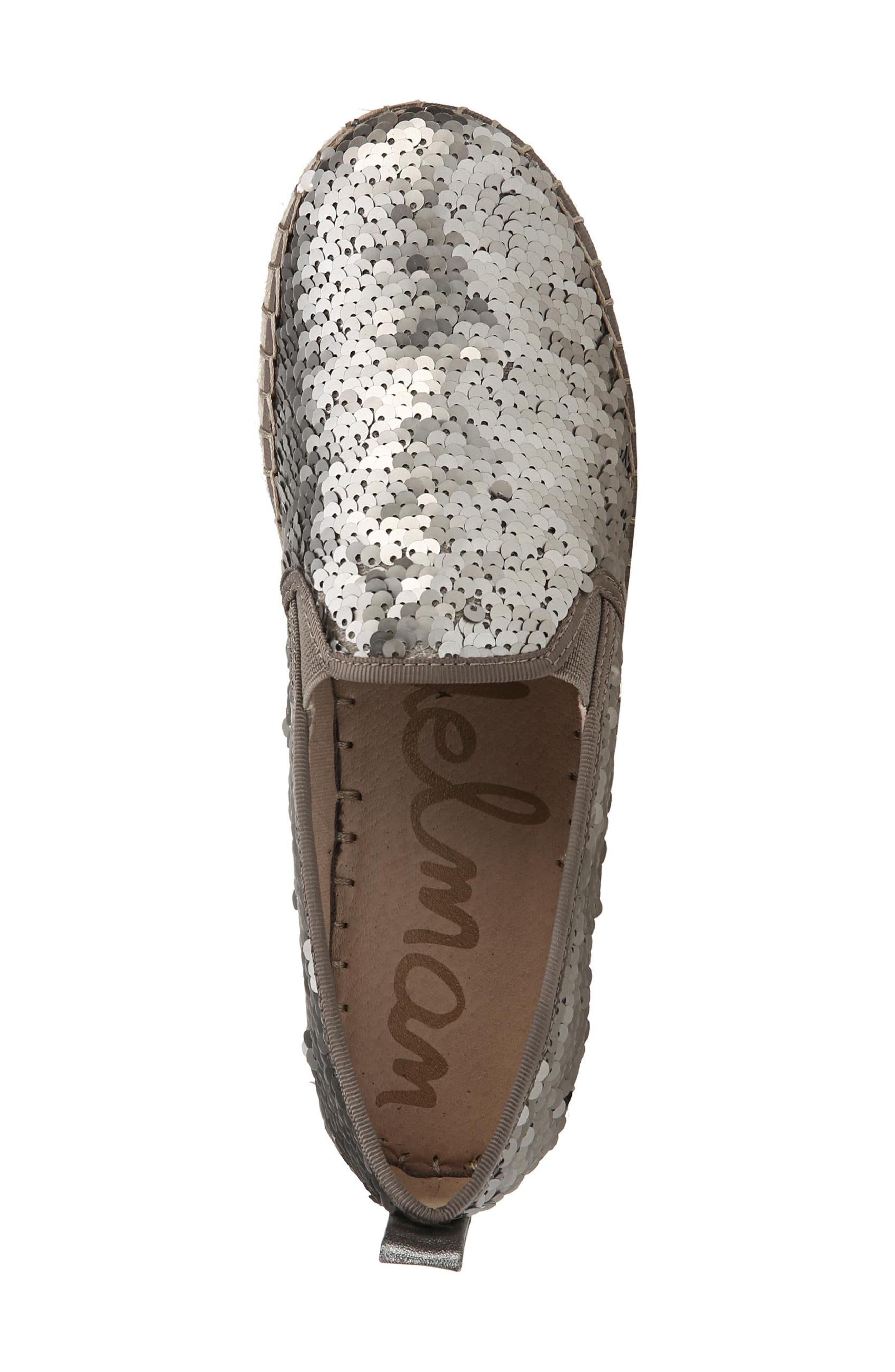 'Carrin' Espadrille Flat,                             Alternate thumbnail 5, color,                             PEWTER SEQUINS