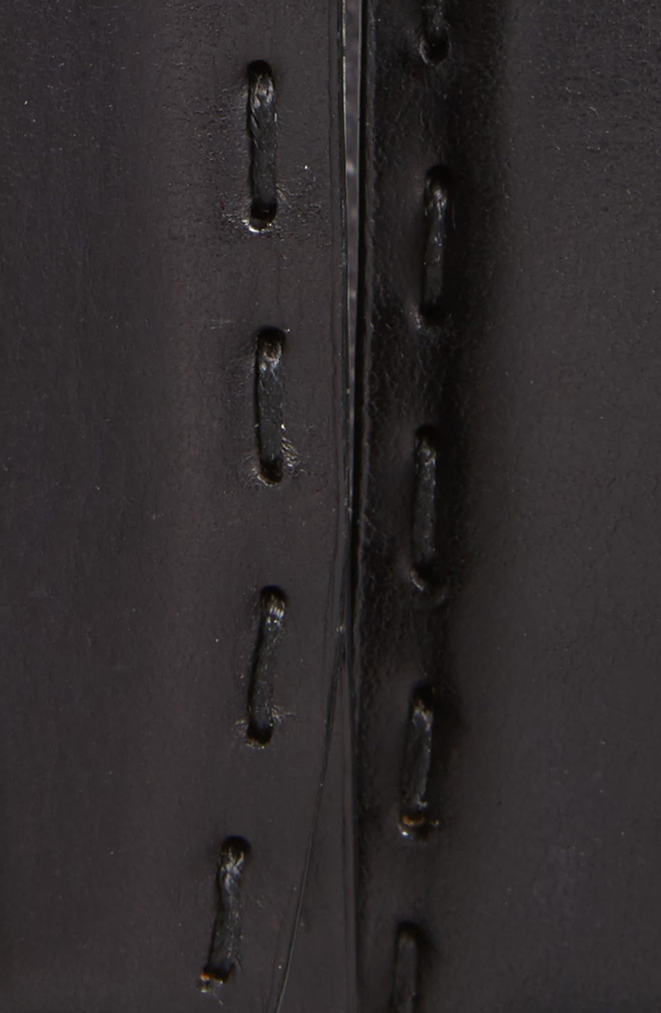 Pickstitch Feather Edge Leather Belt,                             Alternate thumbnail 2, color,                             BLACK